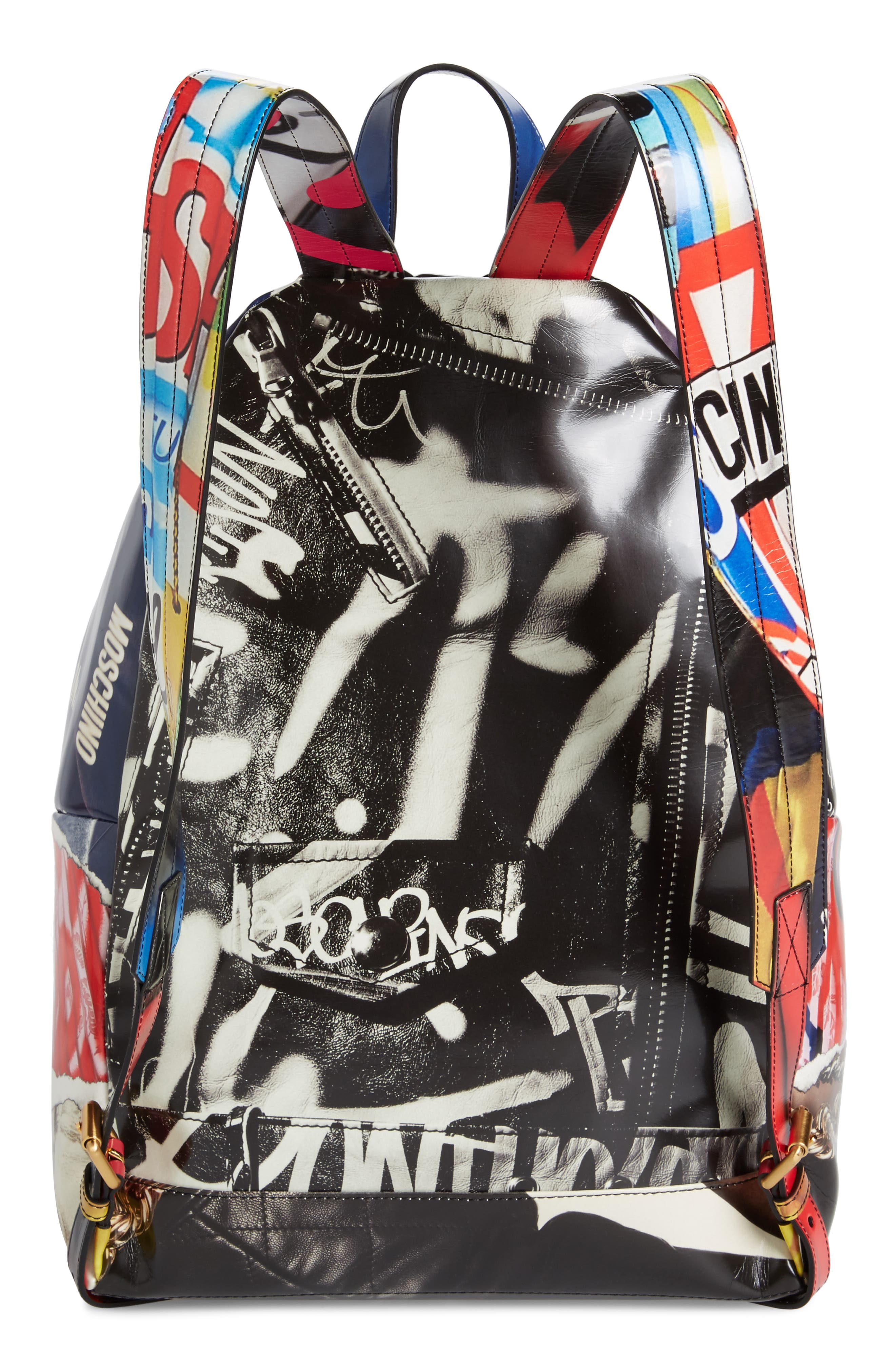 Editorial Logo Faux Leather Backpack,                             Alternate thumbnail 3, color,                             Blue Multi