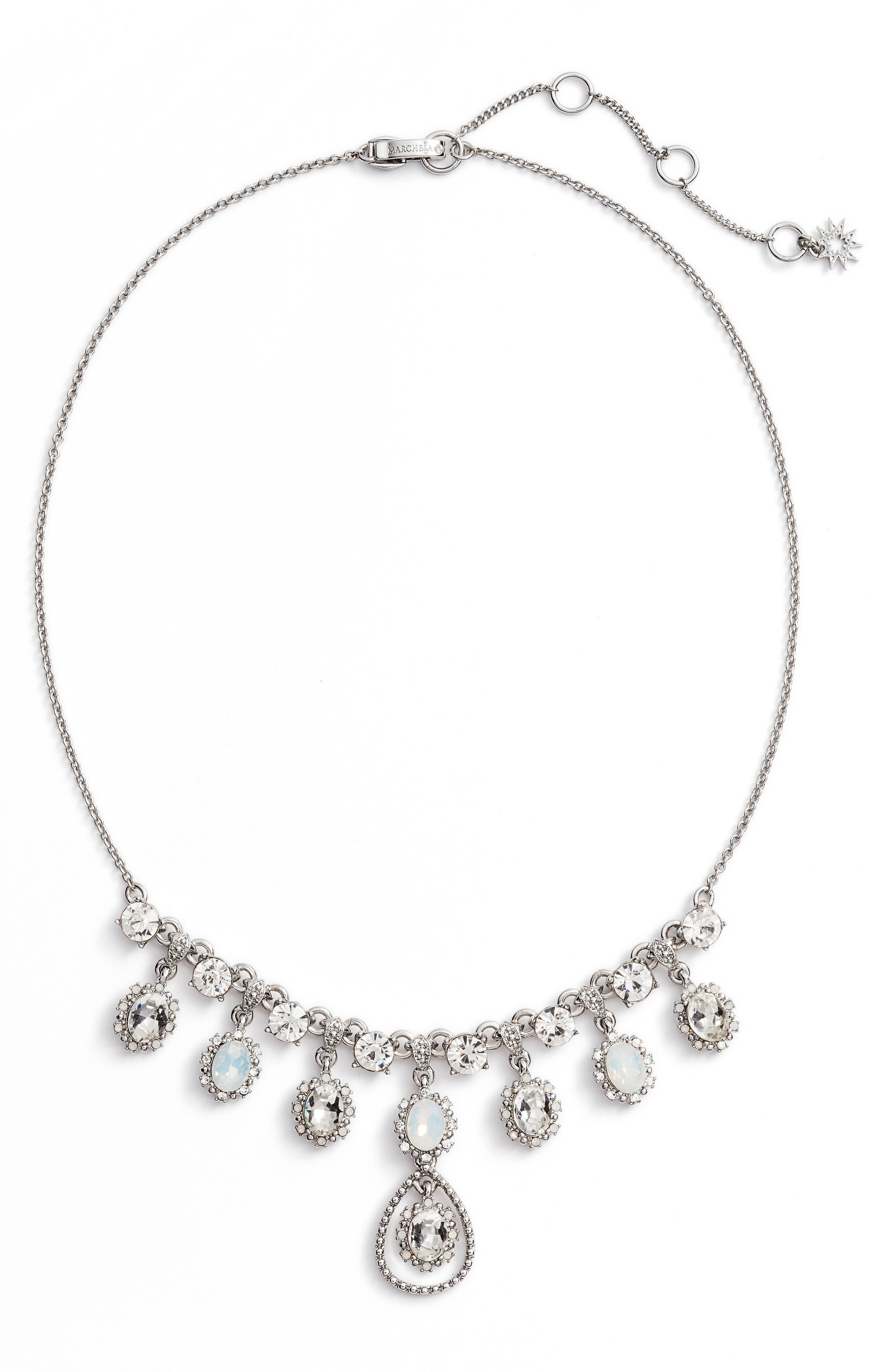 Crystal Frontal Necklace,                         Main,                         color, Rhodium/ White Multi