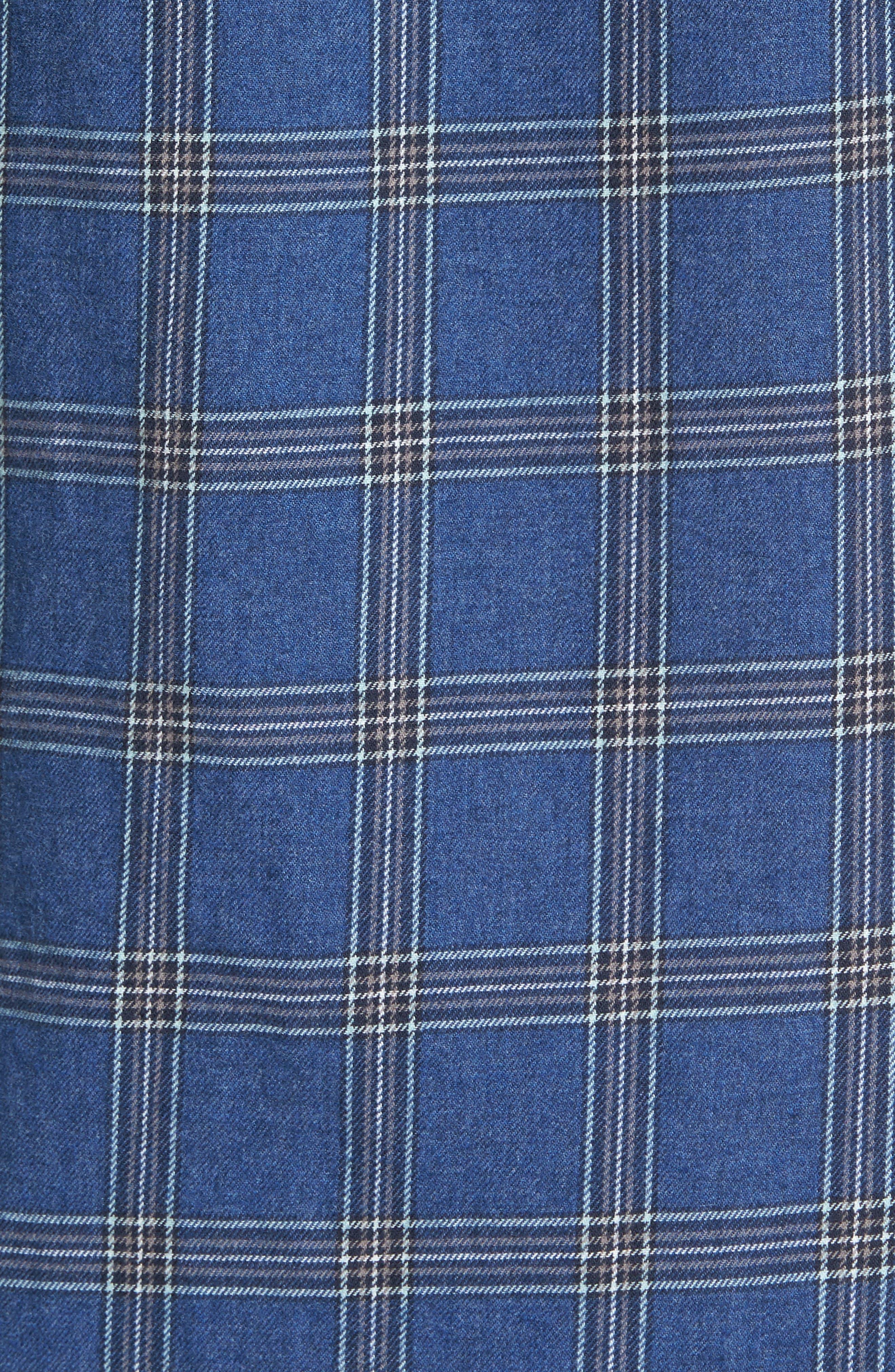 Slim Fit Plaid Twill Sport Shirt,                             Alternate thumbnail 5, color,                             Deep Space Plaid
