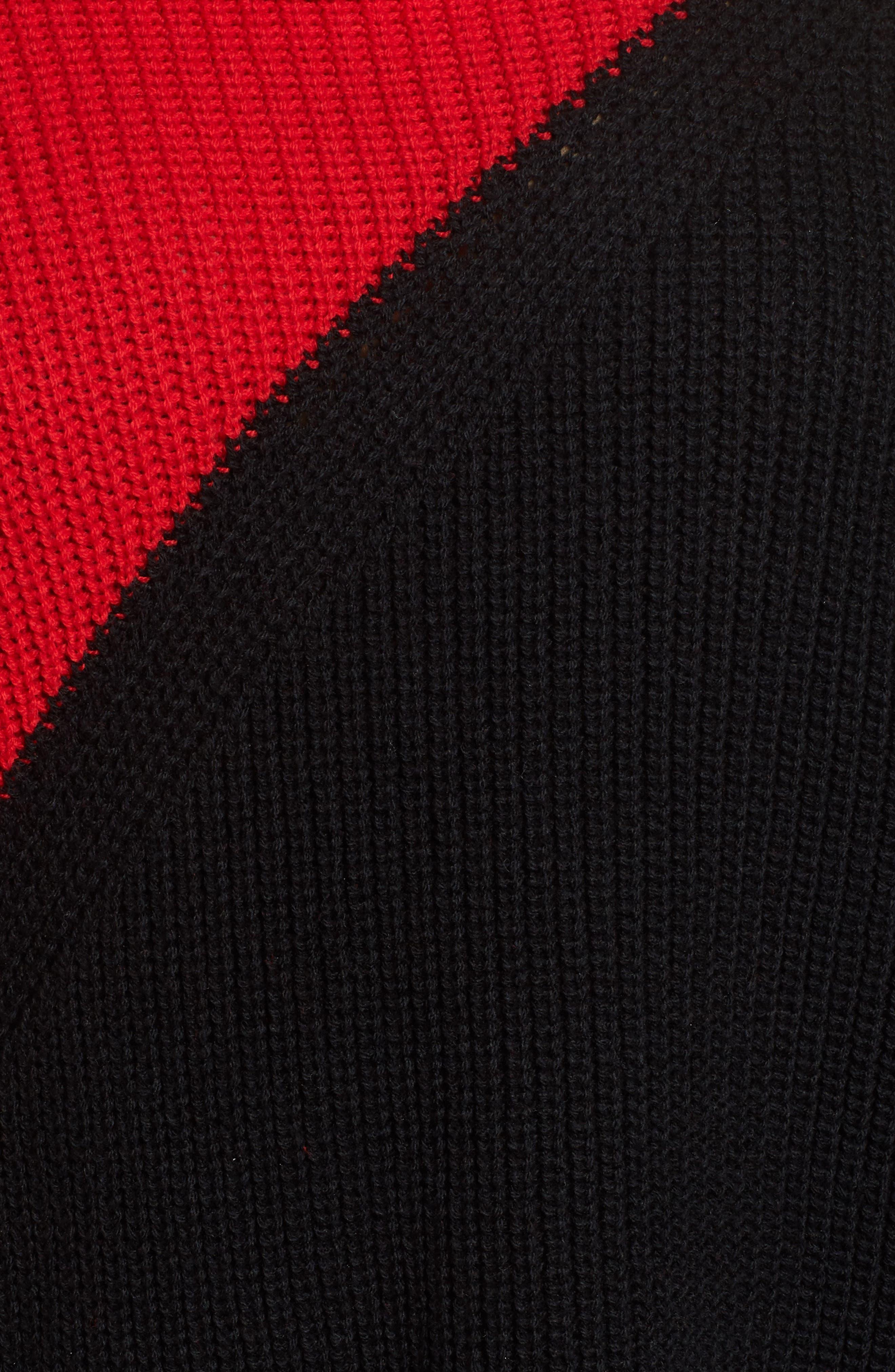 Colorblock Cowl Neck Sweater,                             Alternate thumbnail 5, color,                             Rouge