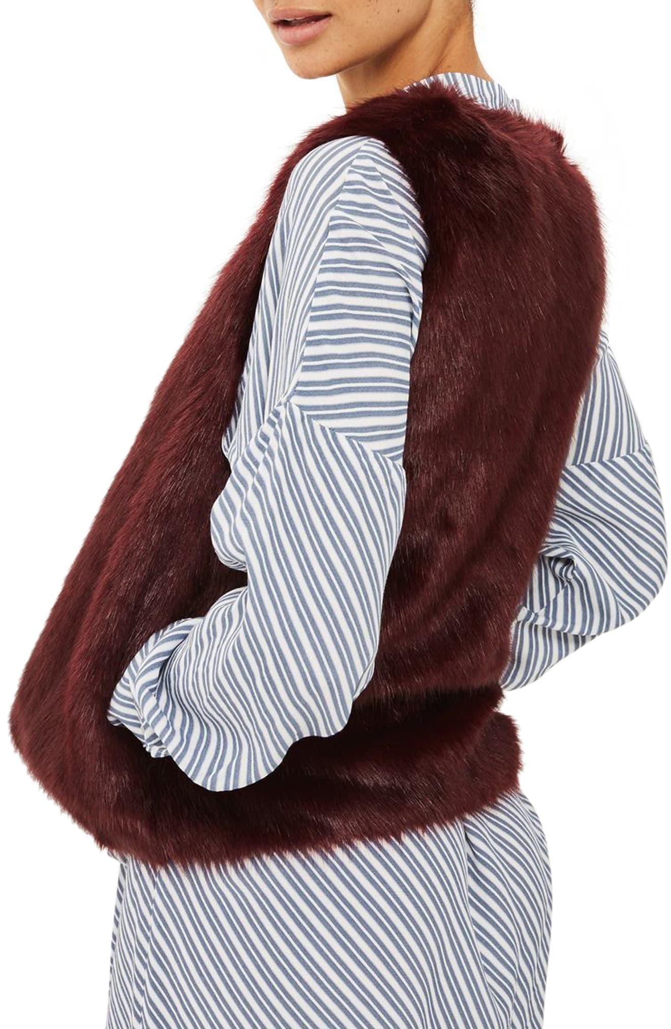 Clair Faux Fur Vest,                             Alternate thumbnail 3, color,                             Burgundy