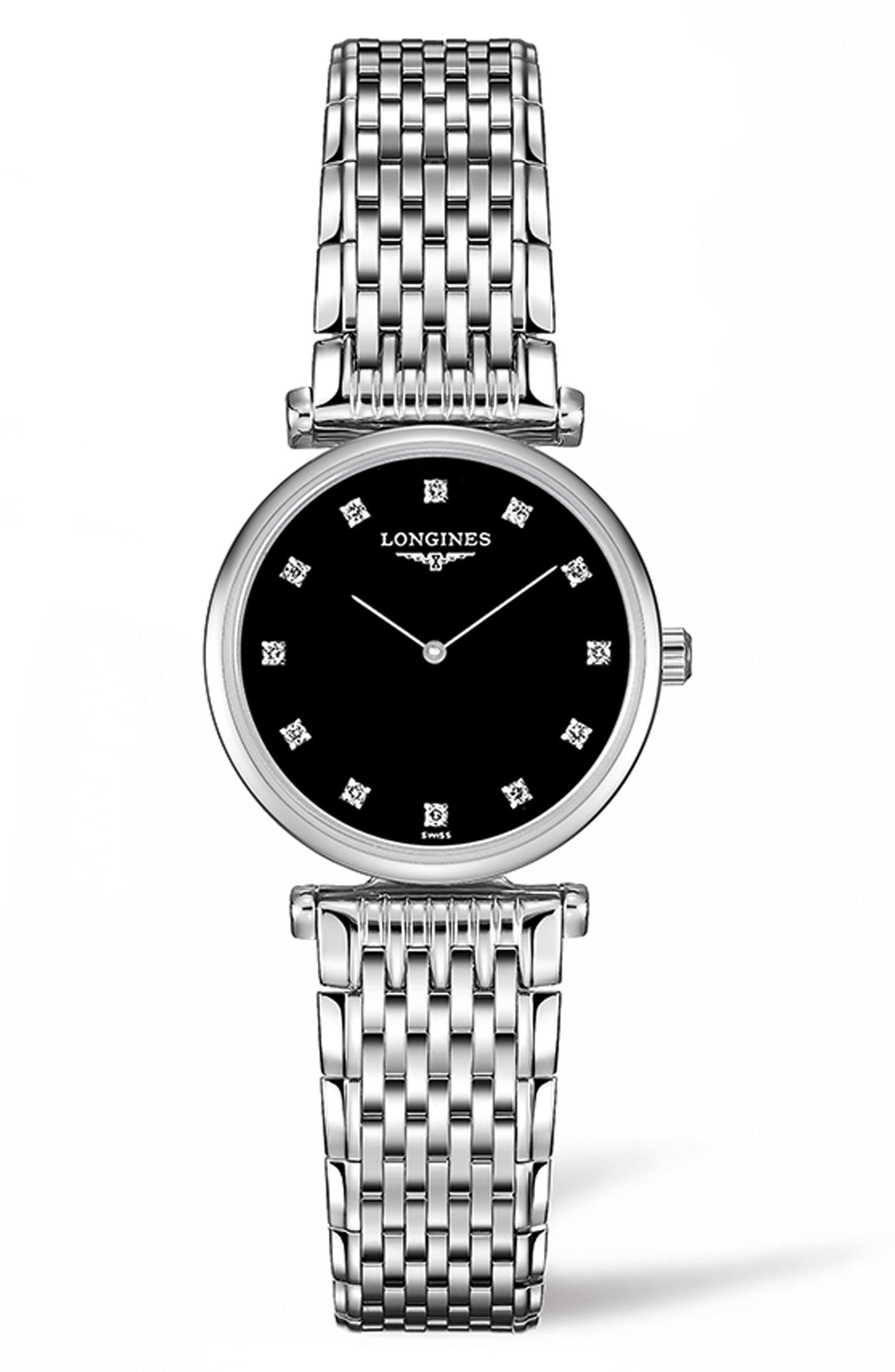 La Grande Classique de Longines Diamond Bracelet Watch, 24mm,                             Main thumbnail 1, color,                             Silver/ Black/ Silver