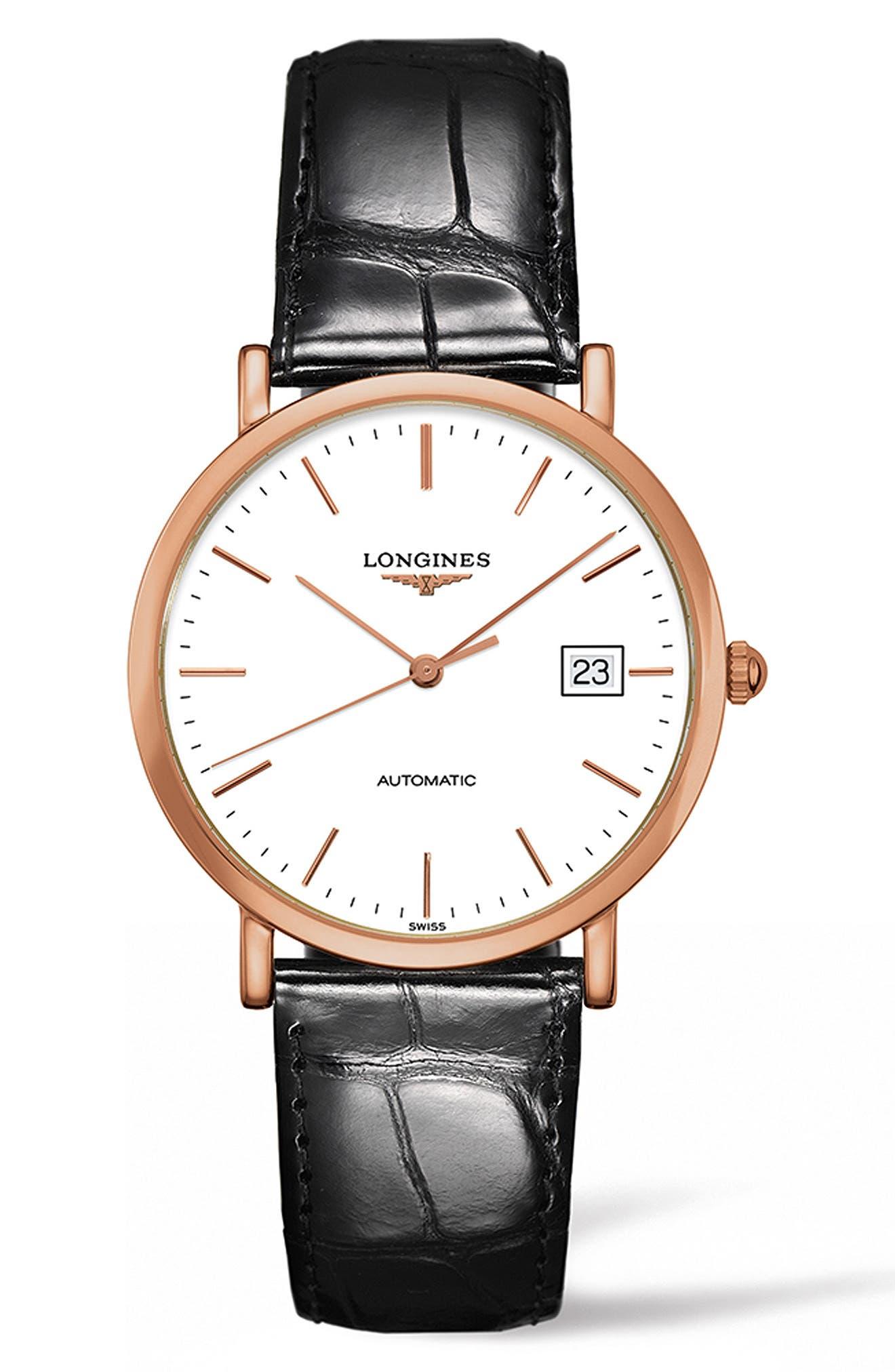 Main Image - Longines Elegant Automatic Leather Strap Watch, 37mm