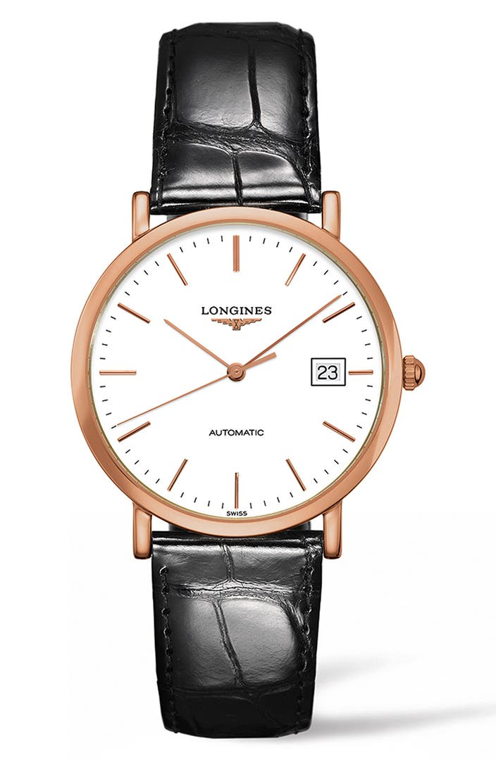 Longines elegant automatic leather strap watch 37mm nordstrom for Longines leather strap