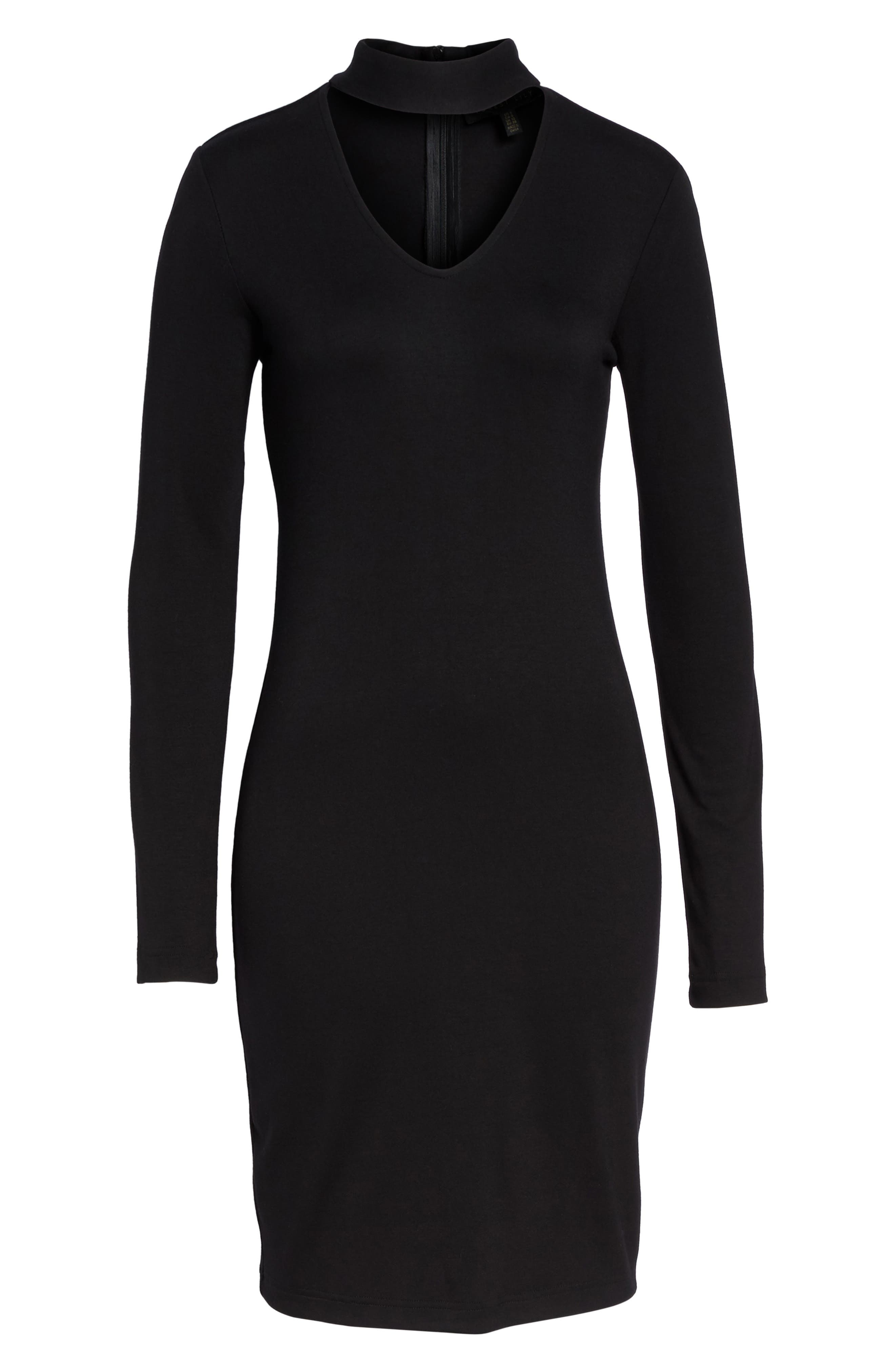 Choker Body-Con Dress,                             Alternate thumbnail 6, color,                             Black