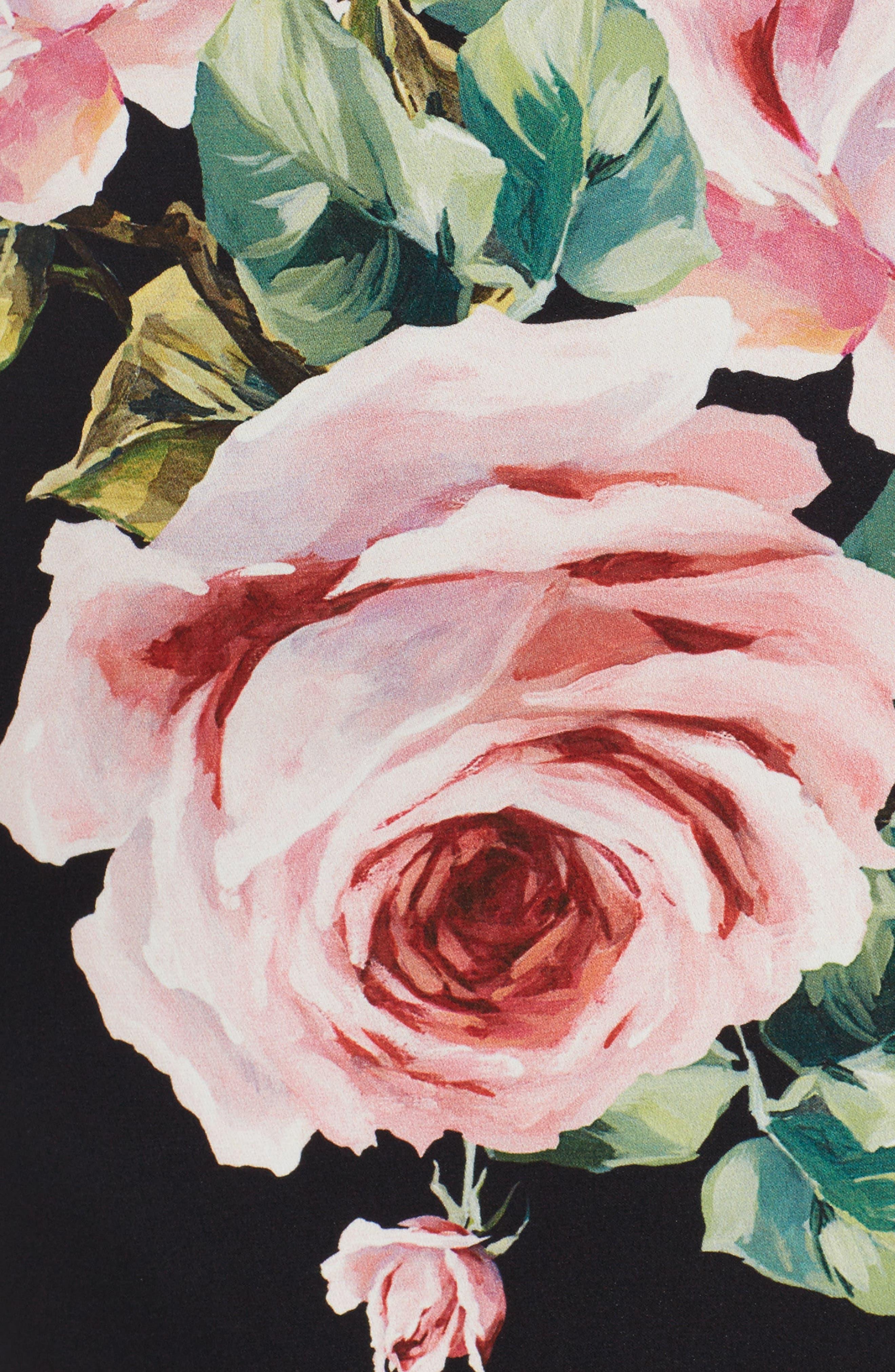 Alternate Image 5  - Dolce&Gabbana Rose Print Stretch Silk Dress