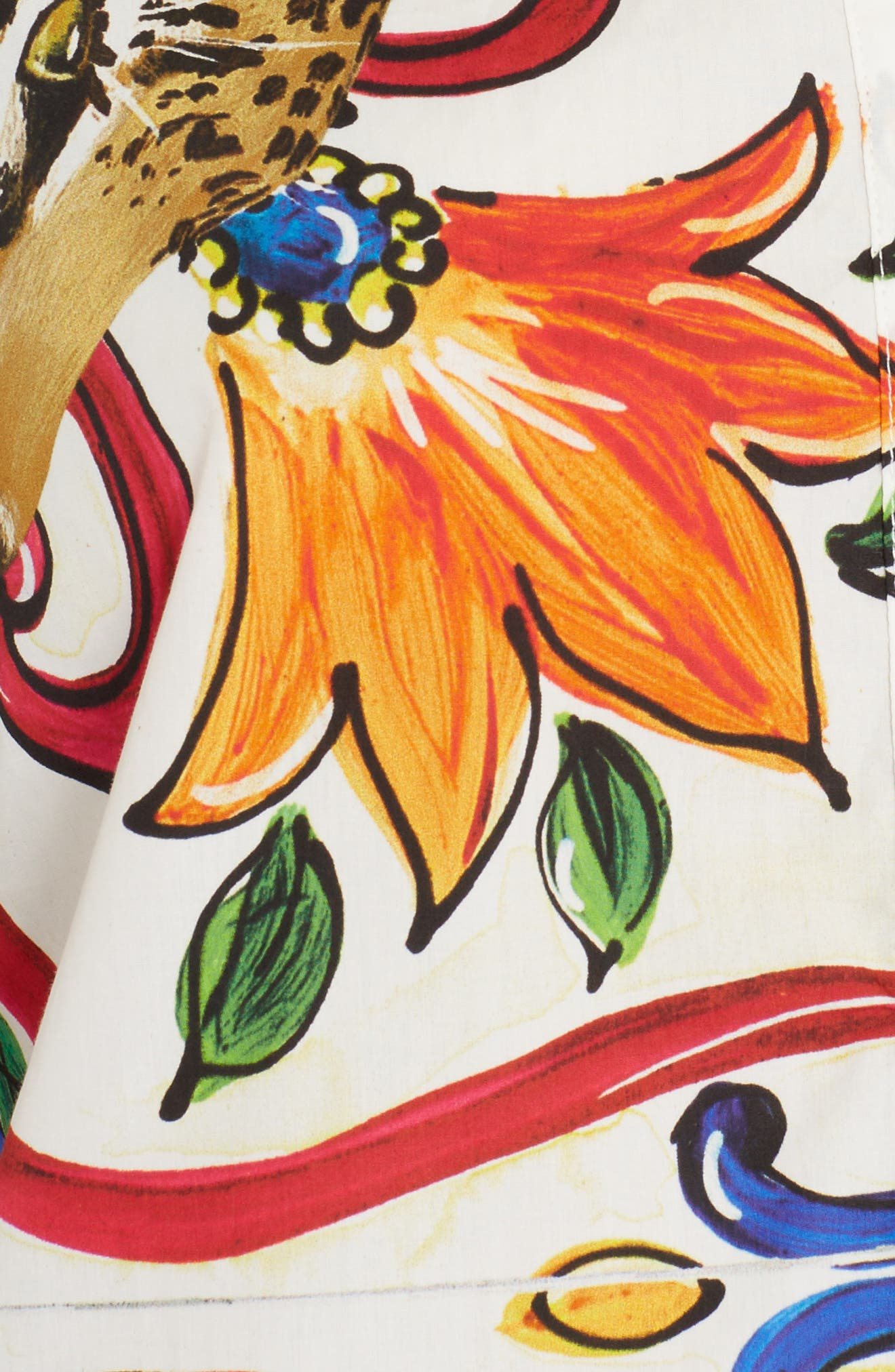 Maiolica Print Cotton Top,                             Alternate thumbnail 5, color,                             White