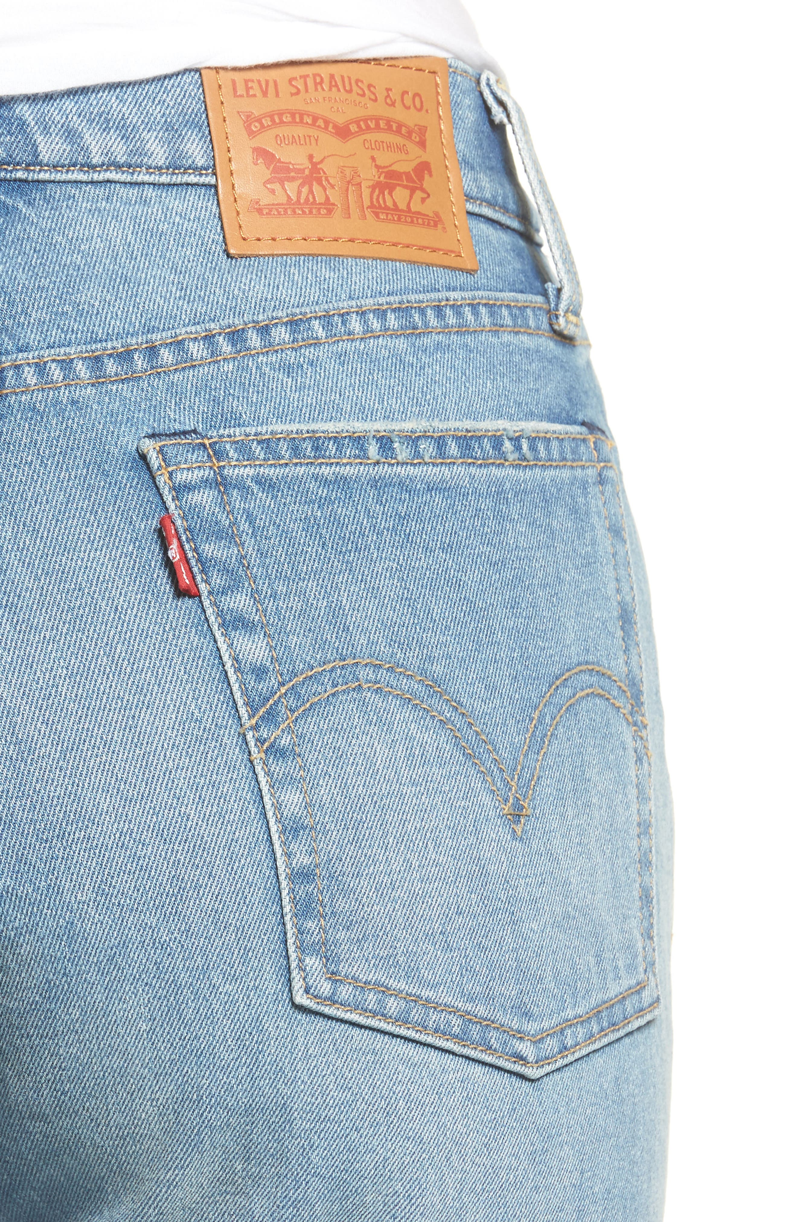 Alternate Image 4  - Levi's® Wedgie Straight Leg Crop Jeans (Rough Tide)