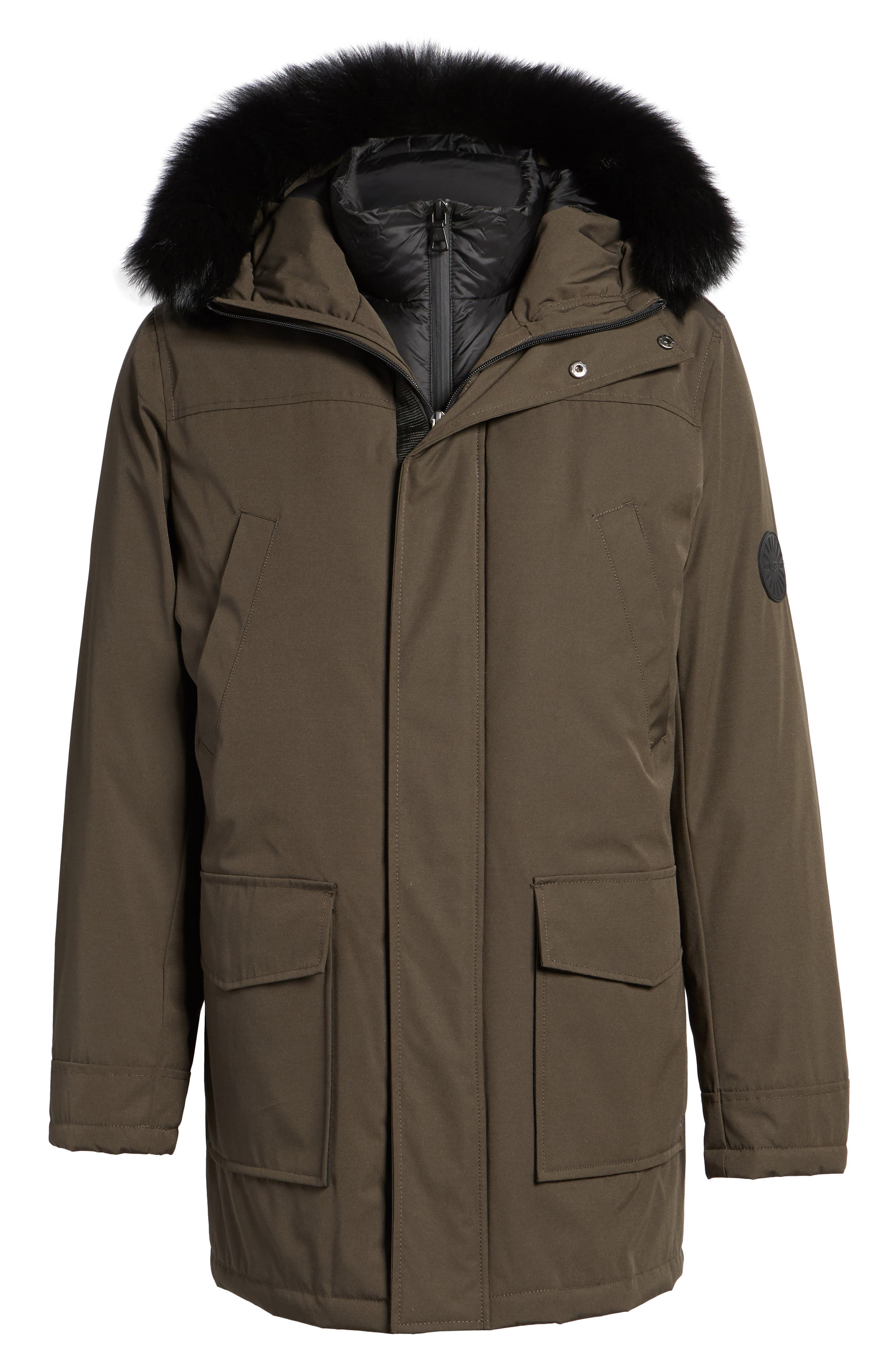 Alternate Image 6  - UGG® Butte Water-Resistant Down Parka with Genuine Shearling Trim