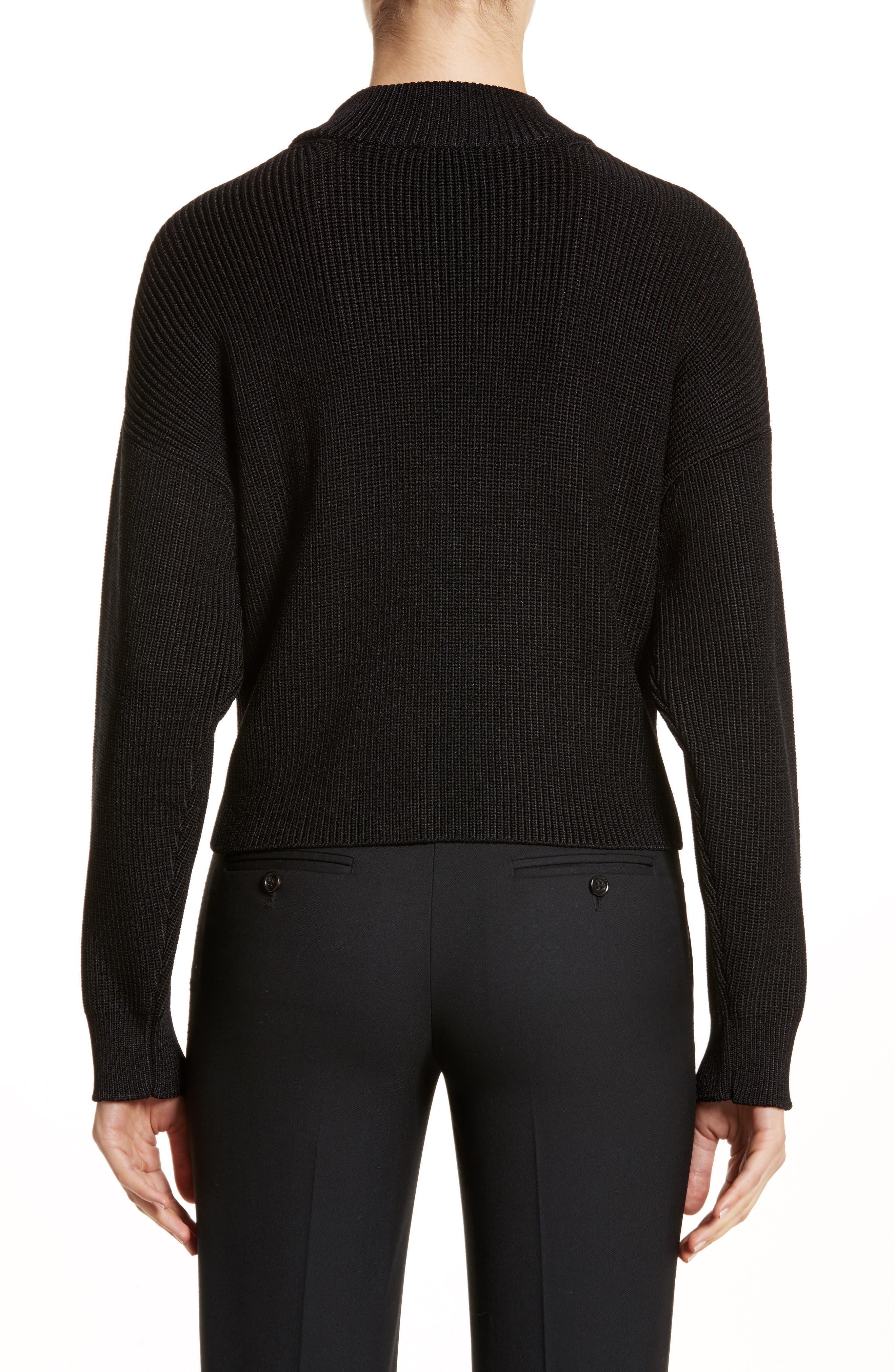 Mock Neck Sweater,                             Alternate thumbnail 2, color,                             Black
