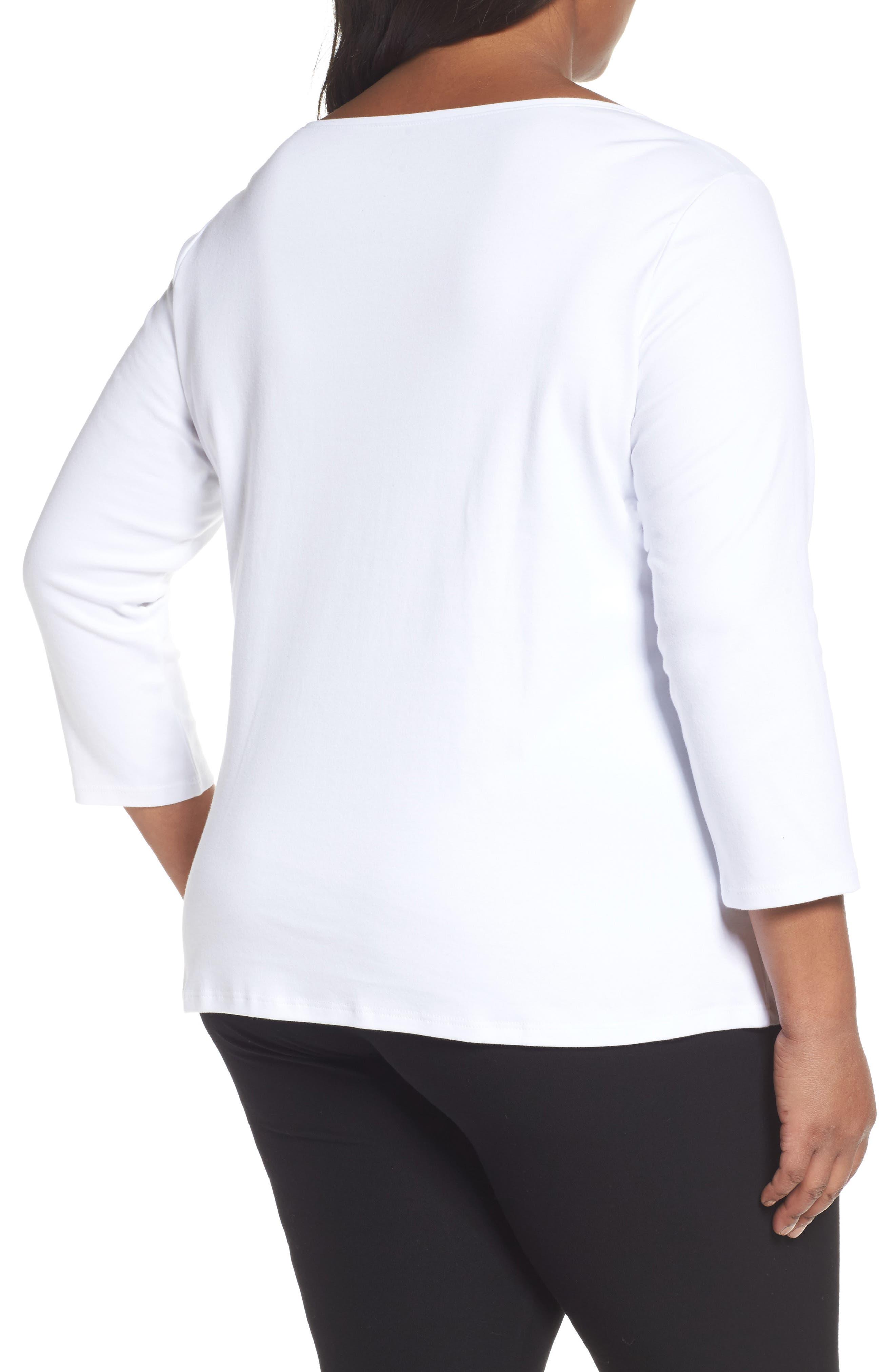 Alternate Image 2  - Eileen Fisher Organic Cotton Ballet Neck Top (Plus Size)