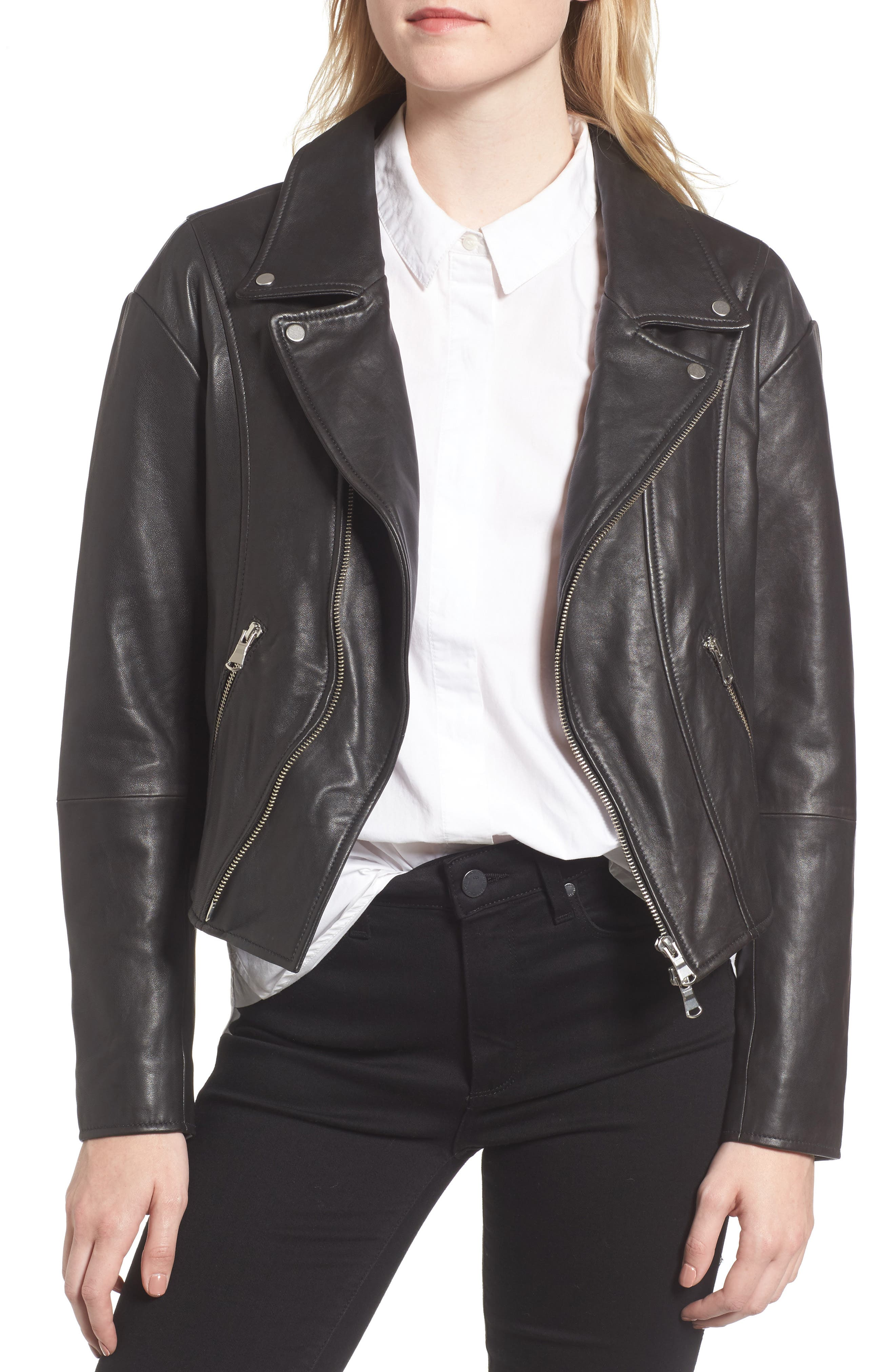 Trouvé Off the Shoulder Leather Moto Jacket