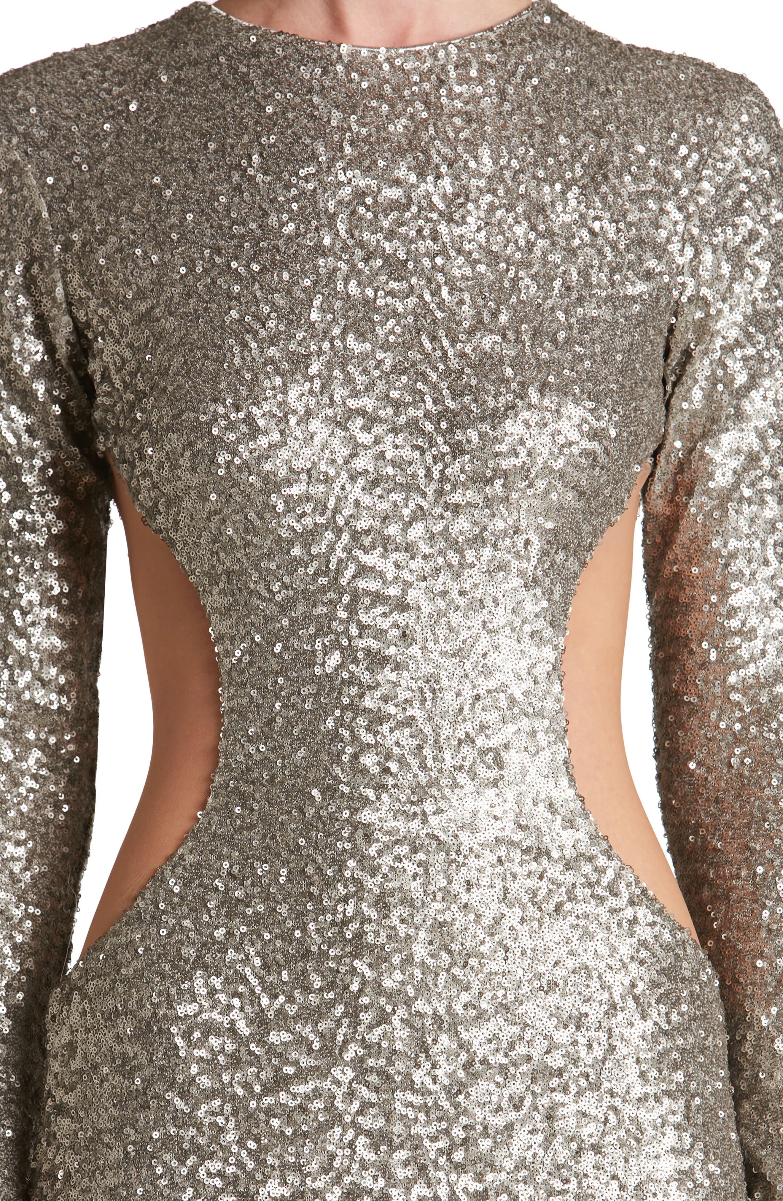 Lara Body-Con Gown,                             Alternate thumbnail 4, color,                             Platinum