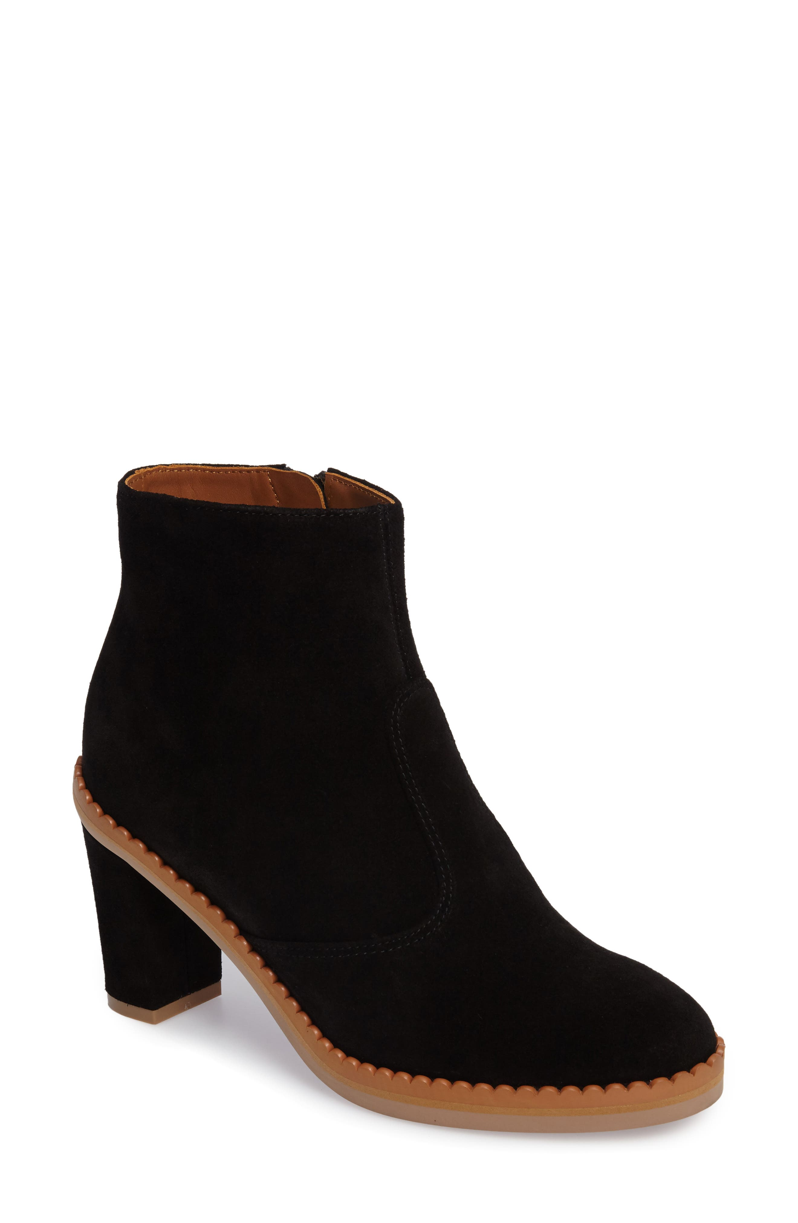 Stasya Block Heel Bootie,                             Main thumbnail 1, color,                             Black