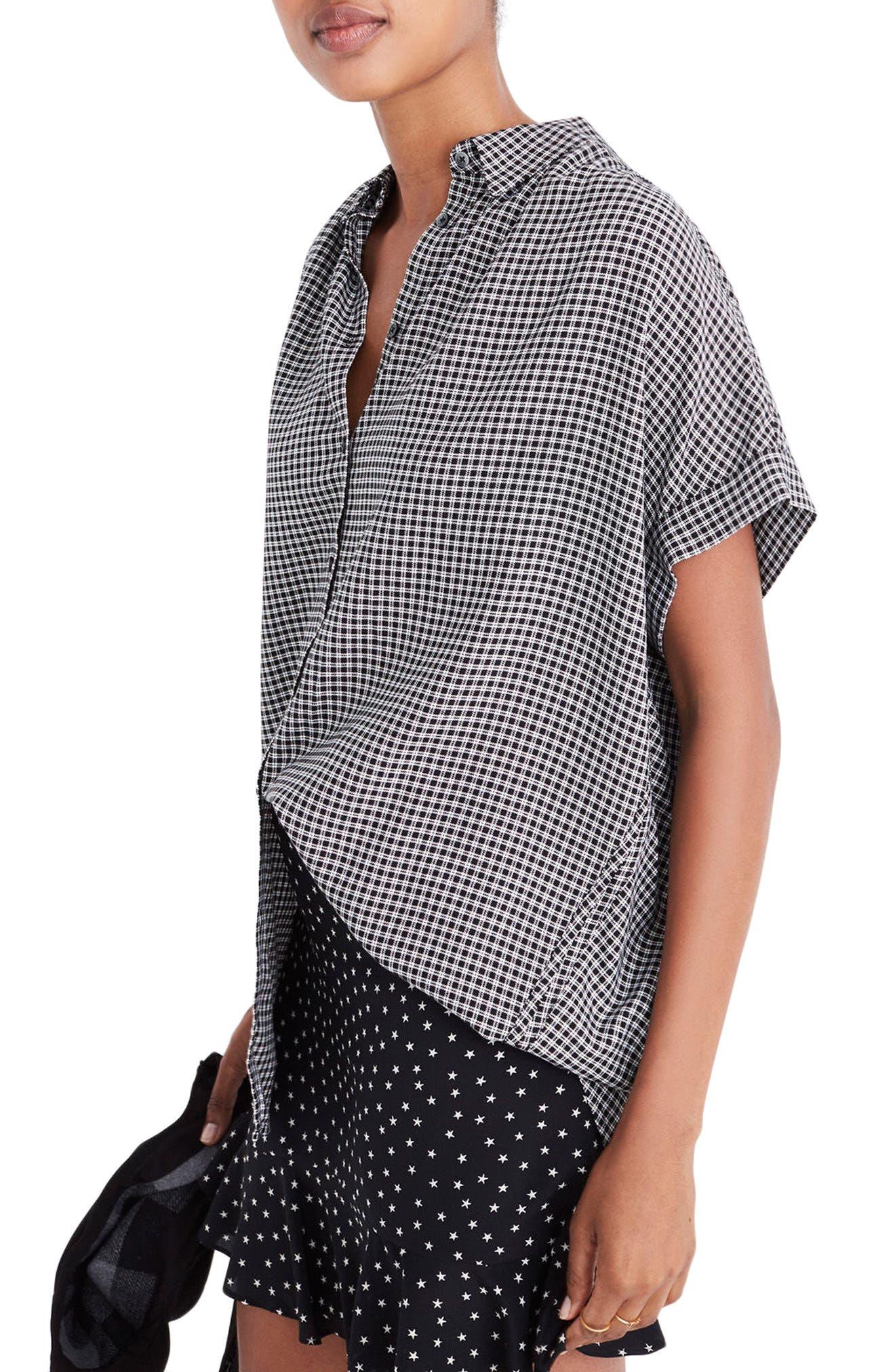 Central Plaid Shirt,                         Main,                         color, True Black