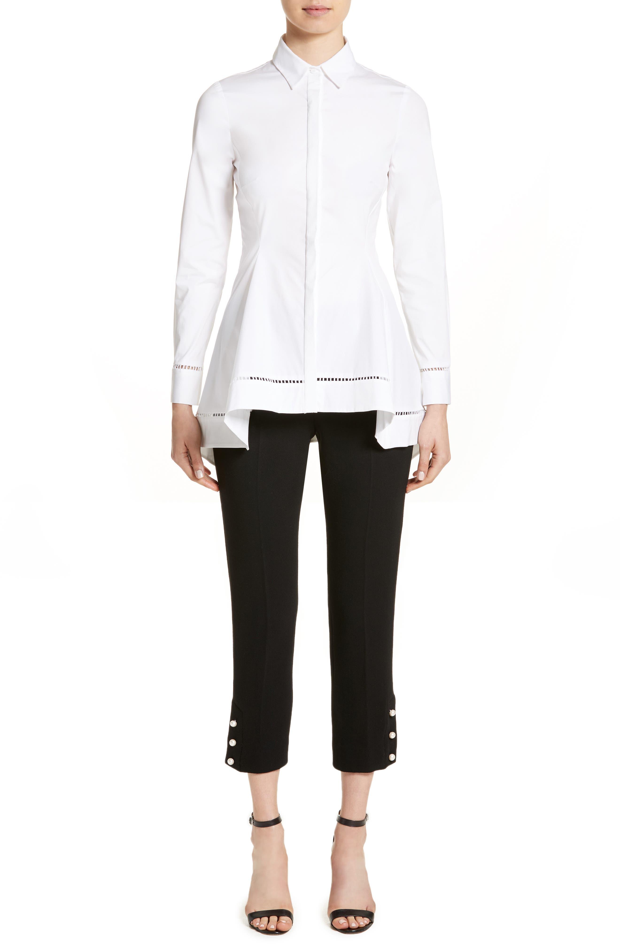 Peplum Shirt,                             Alternate thumbnail 8, color,                             White