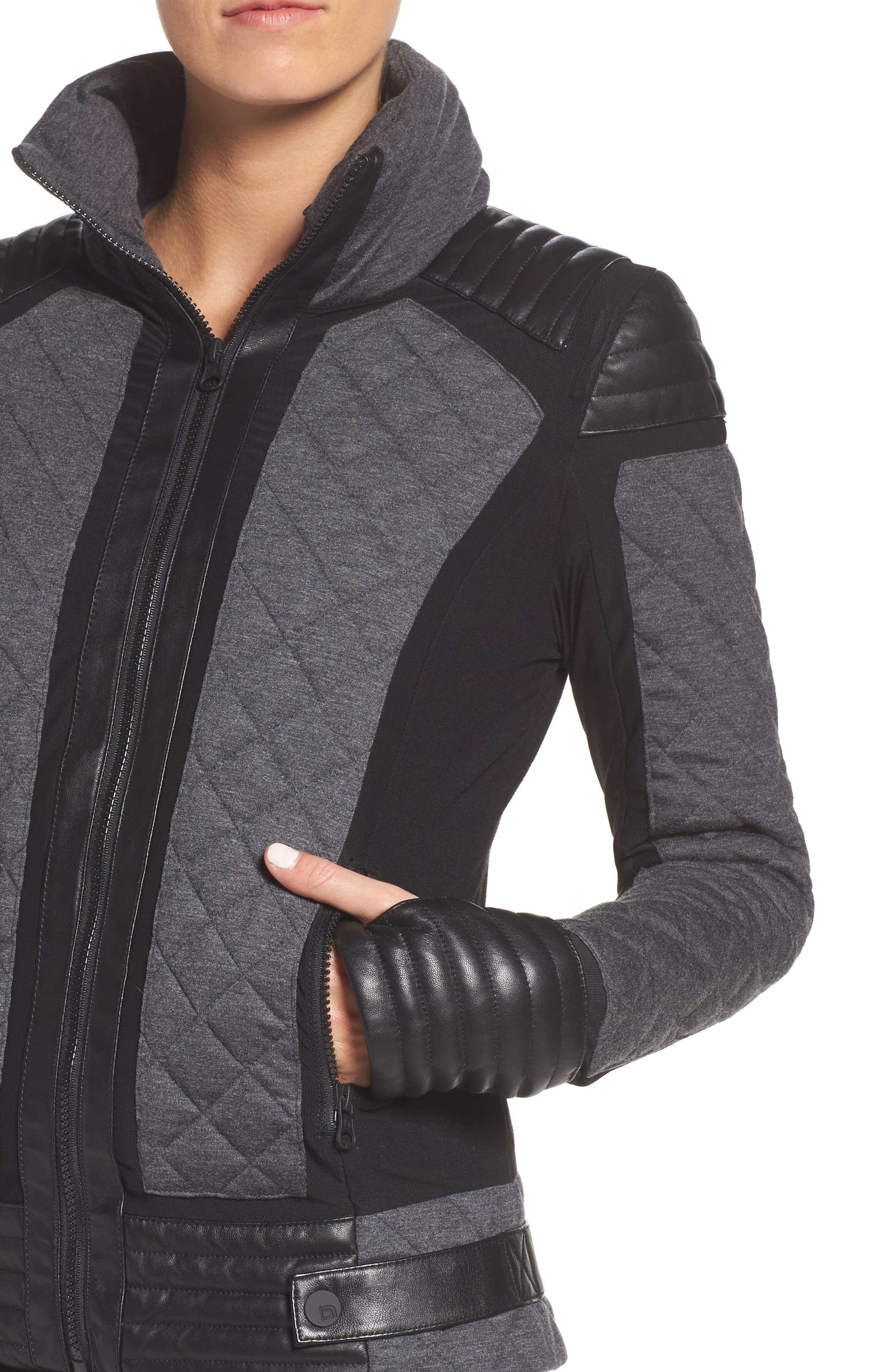 Alternate Image 4  - Blanc Noir Mesh Inset Moto Jacket