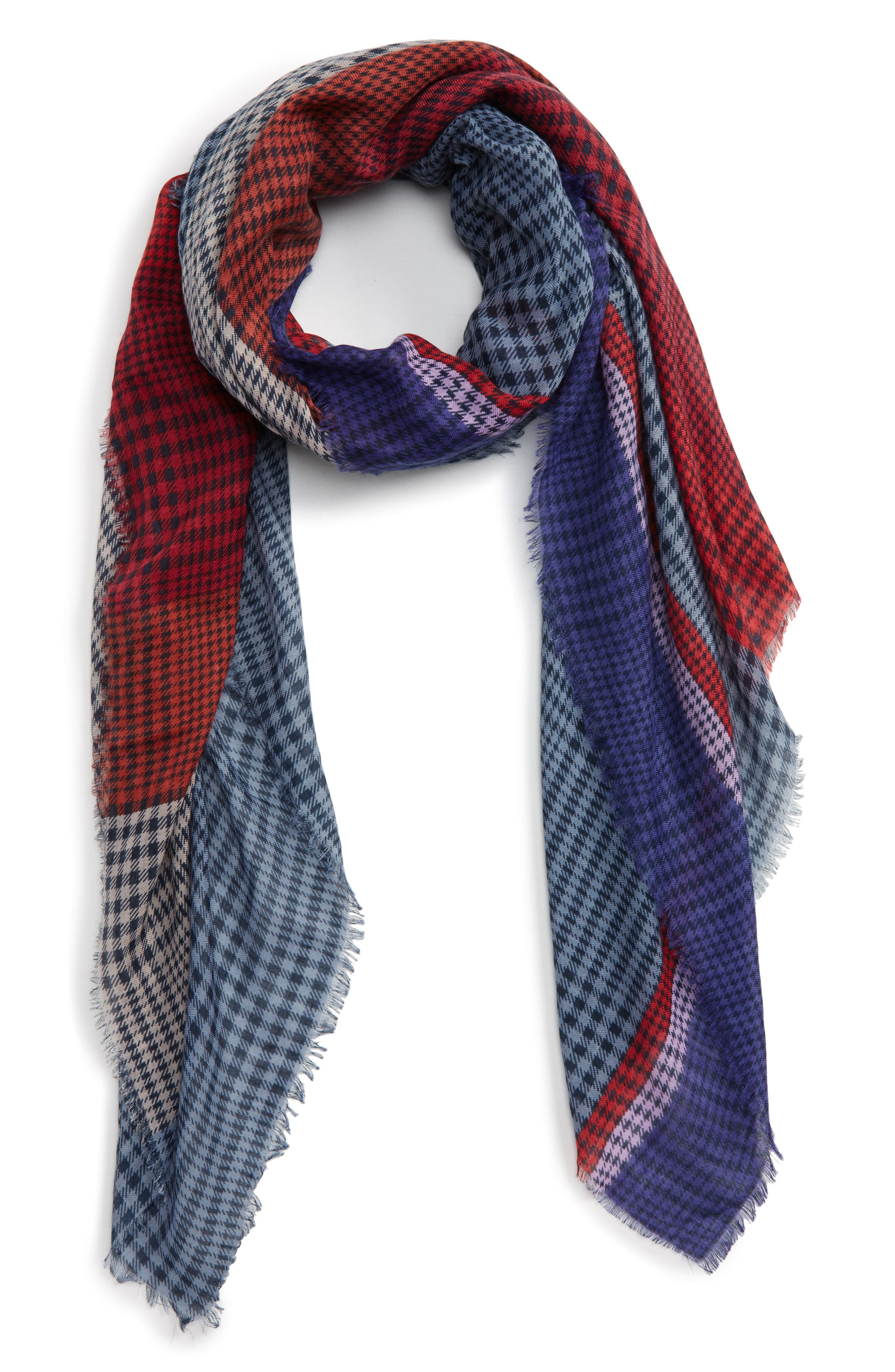 Colorblock Houndstooth Scarf,                         Main,                         color, Blue/ Red Multi