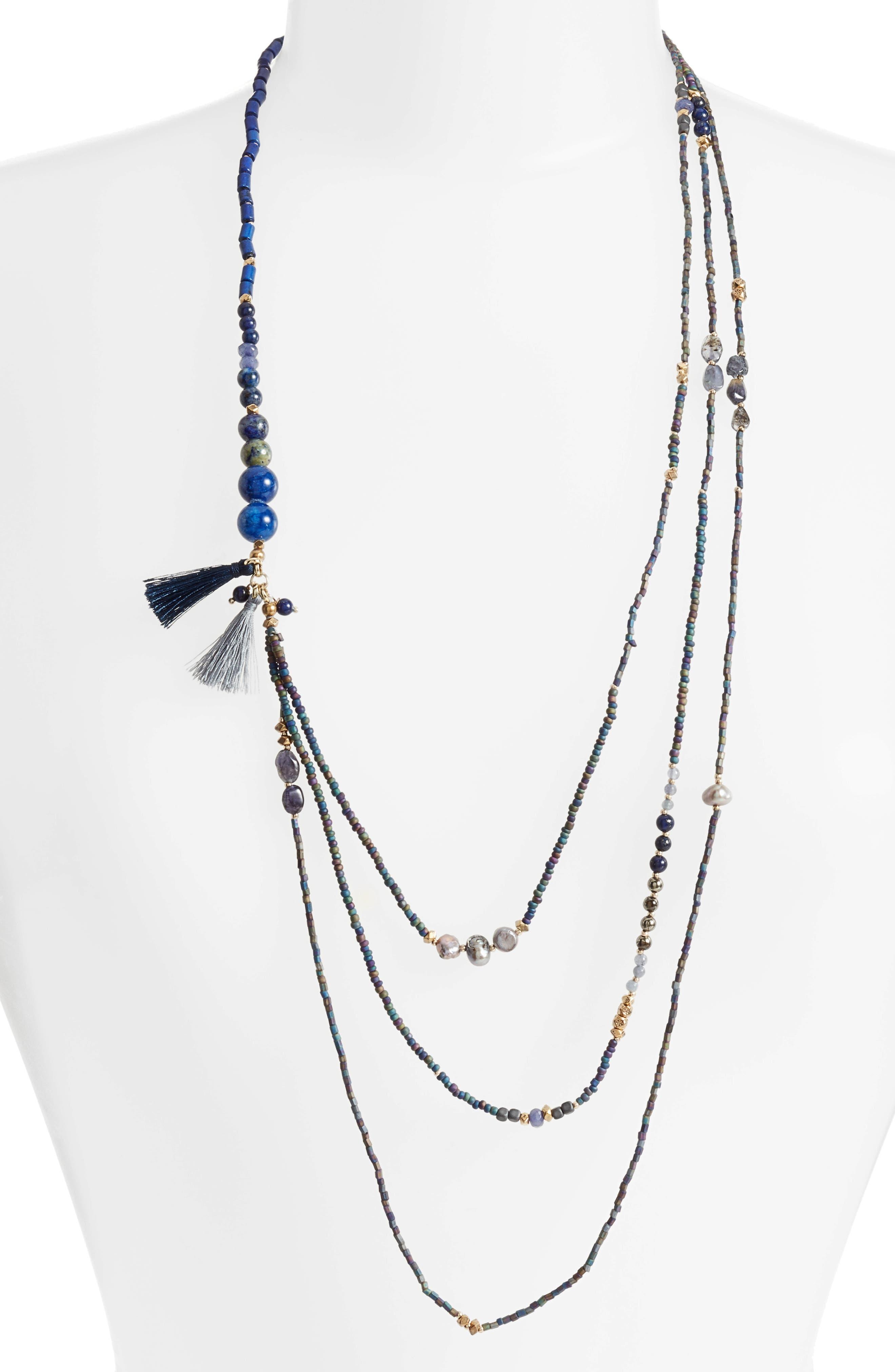 Konia Multistrand Tassel Necklace,                         Main,                         color, Blue