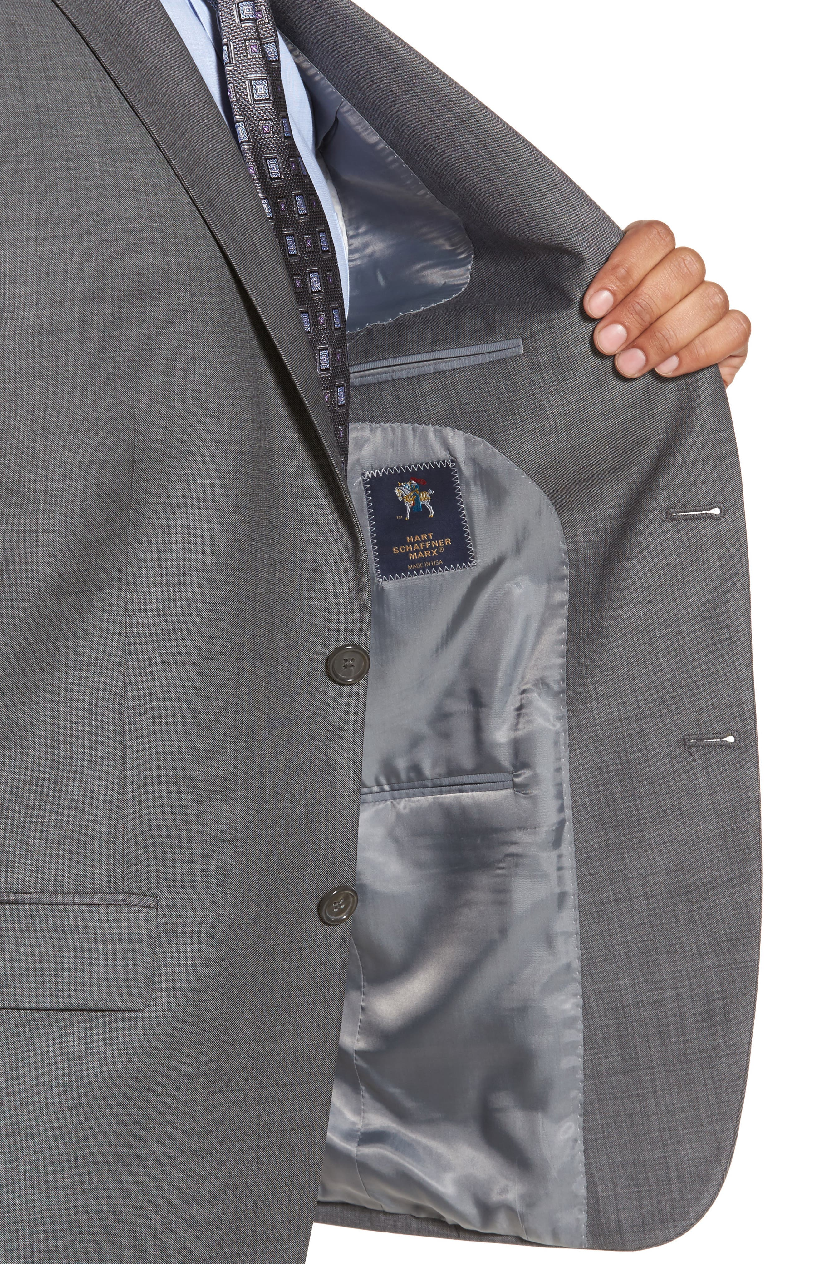 Classic Fit Solid Wool Suit,                             Alternate thumbnail 4, color,                             Med Grey