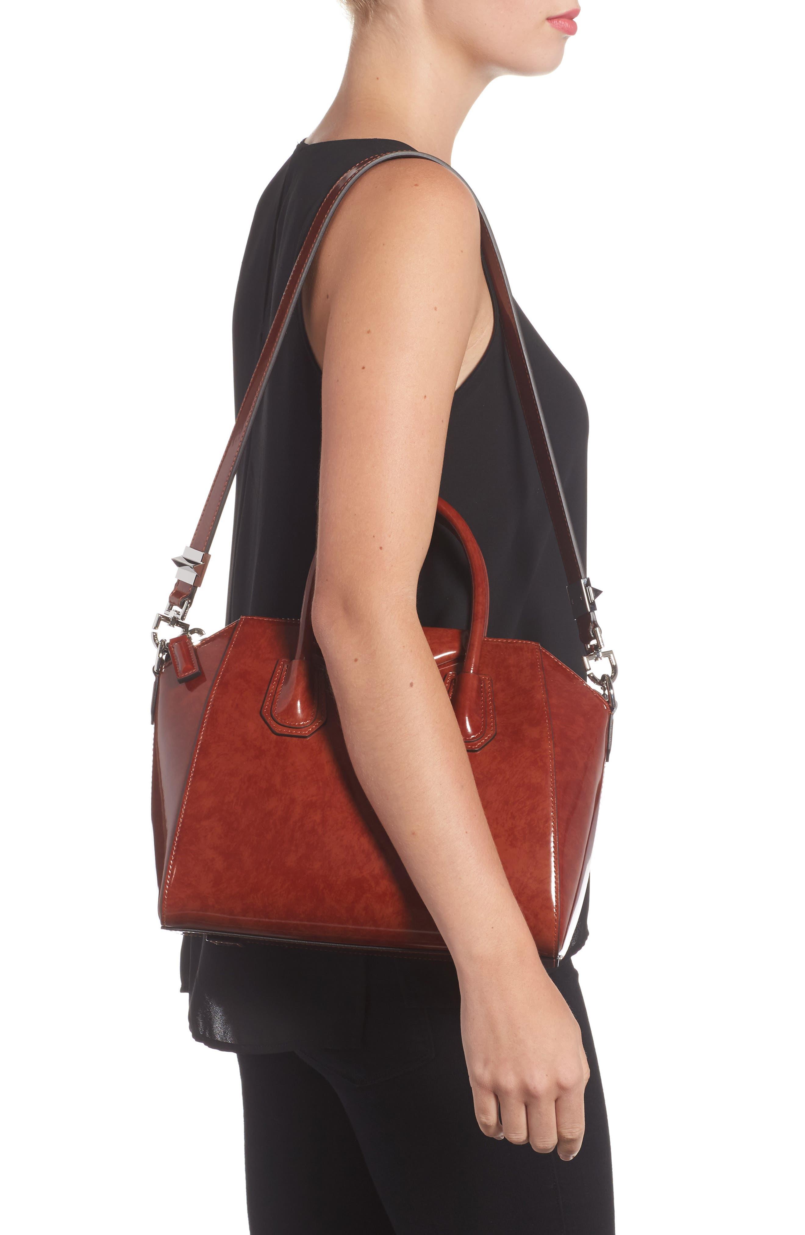 Small Antigona Glazed Leather Satchel,                             Alternate thumbnail 2, color,                             Light Brown