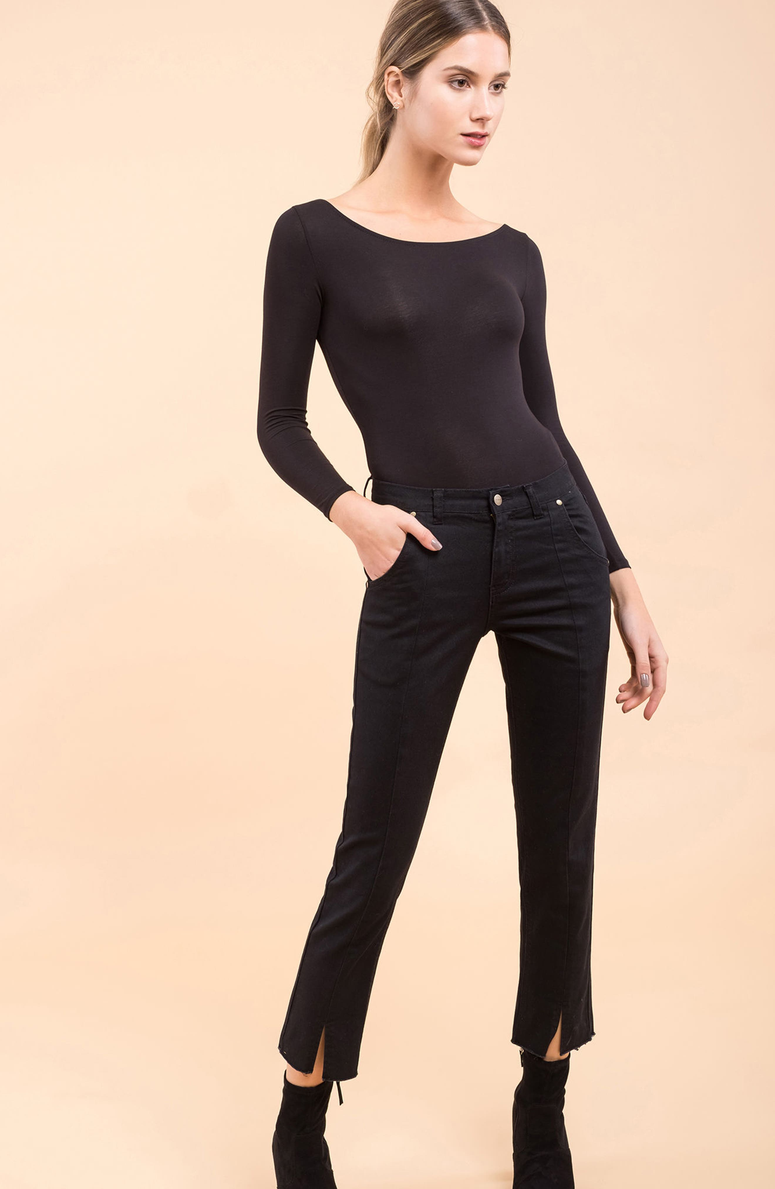 Hermosa Vented Crop Skinny Jeans,                             Alternate thumbnail 2, color,                             Black