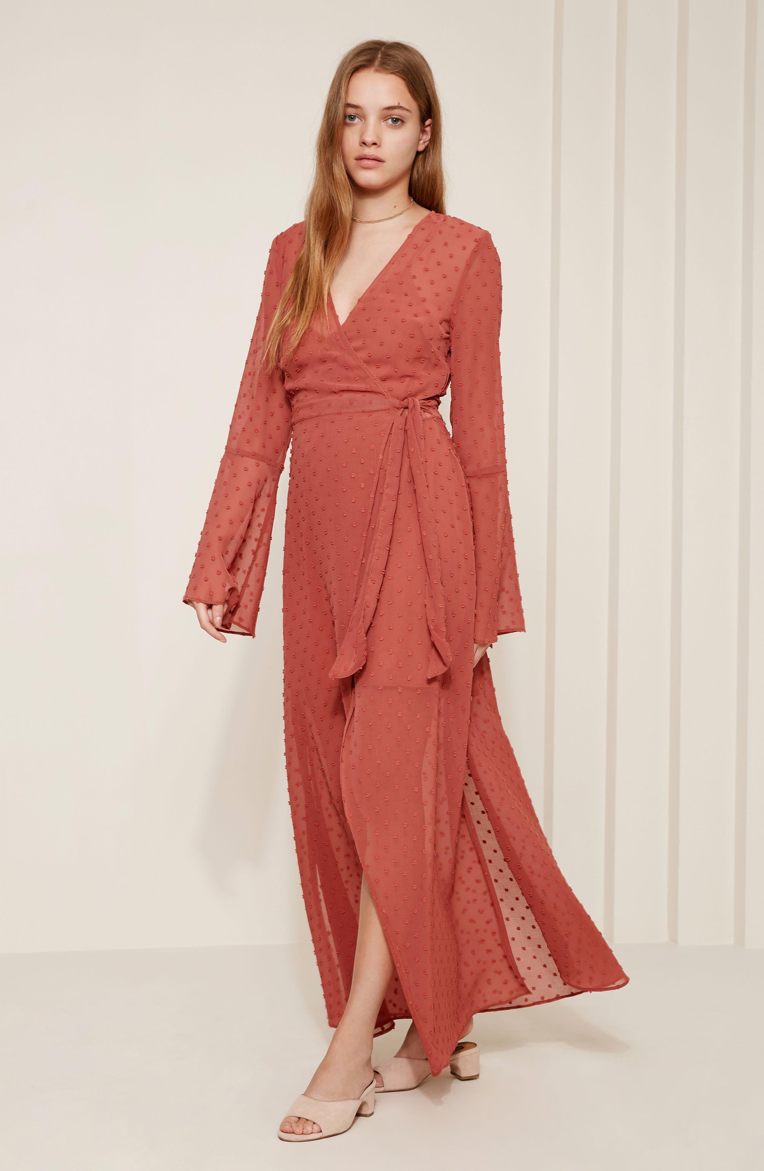 Freya Bell Sleeve Wrap Maxi Dress,                             Alternate thumbnail 2, color,                             Cinnamon