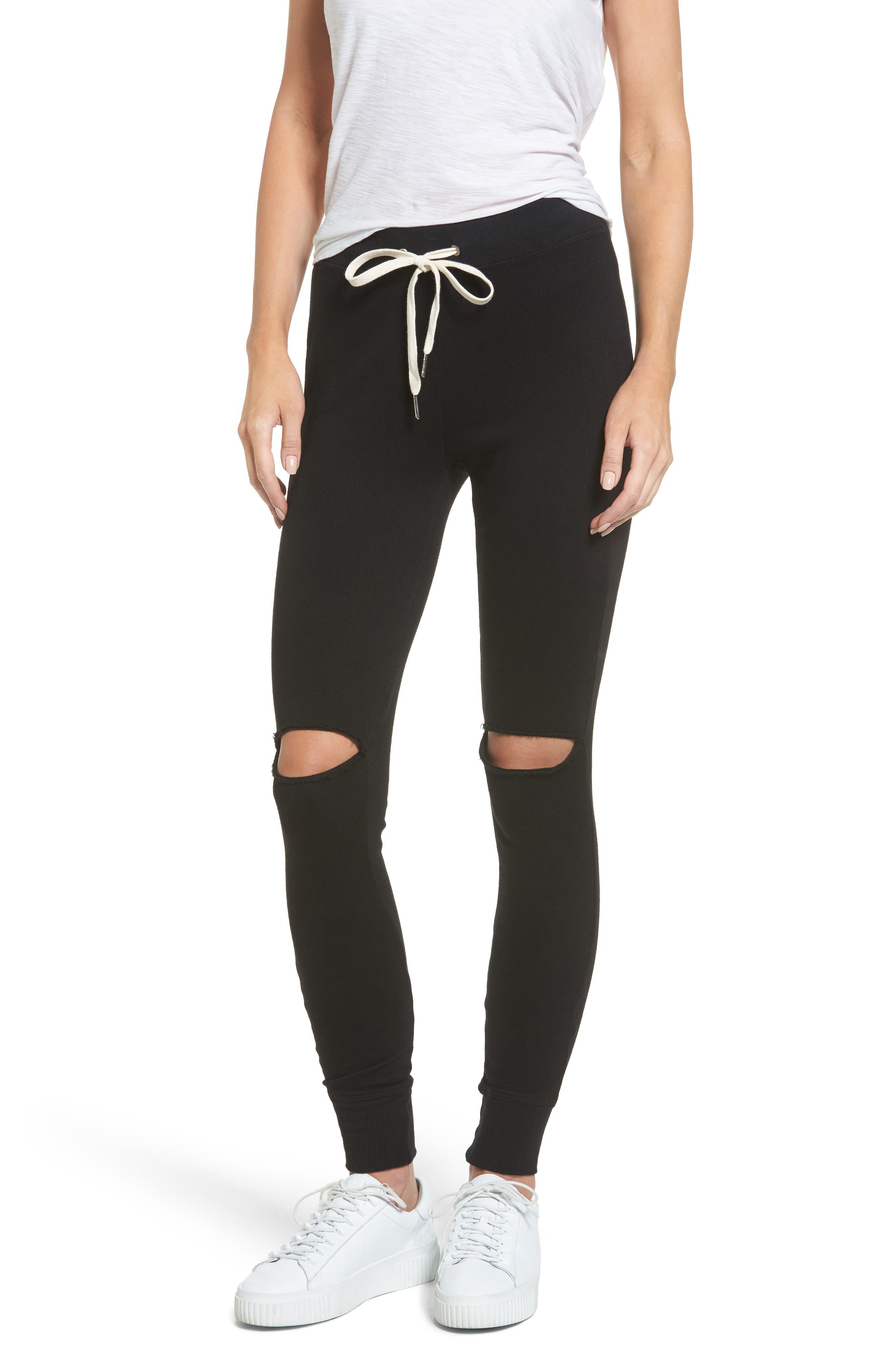 Ruthie Shredded Jogger Pants,                         Main,                         color, Black Cat