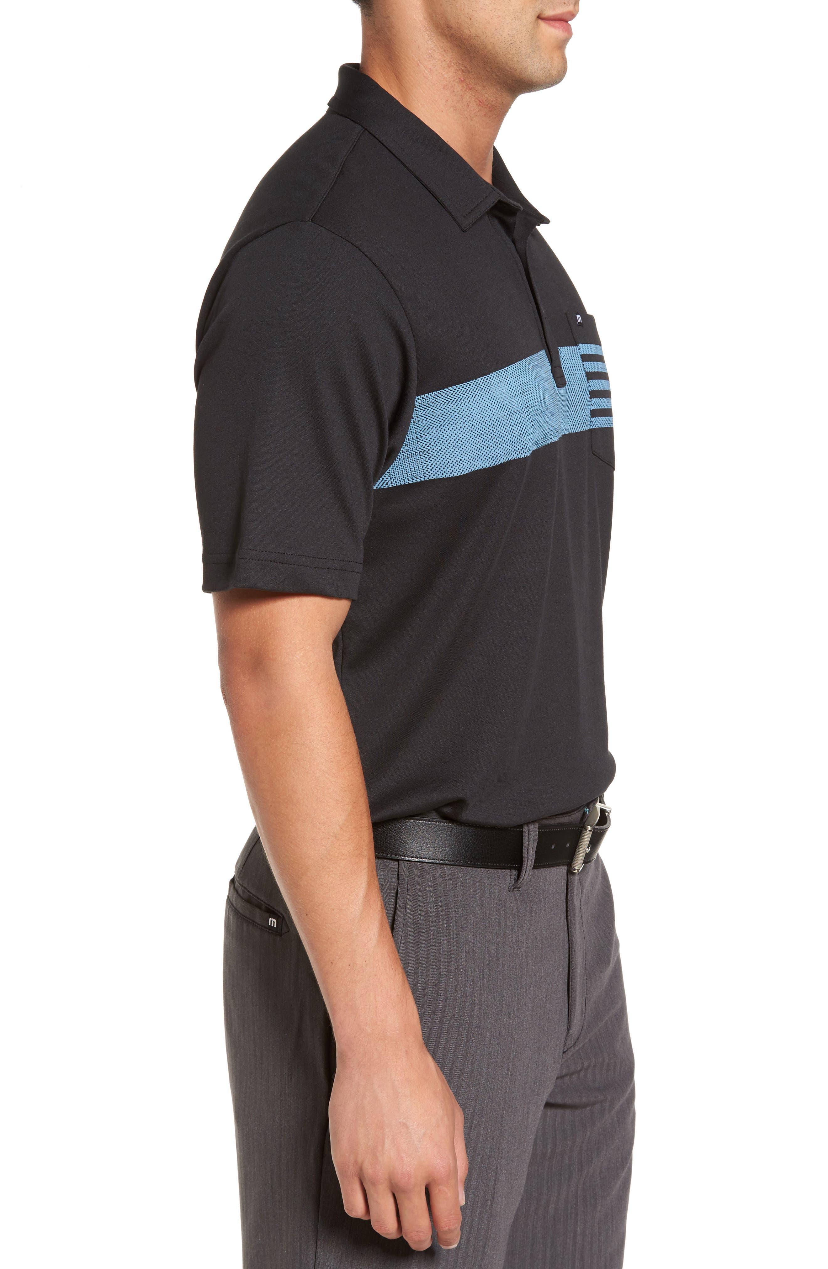 Russ Chest Stripe Pocket Polo,                             Alternate thumbnail 3, color,                             Black