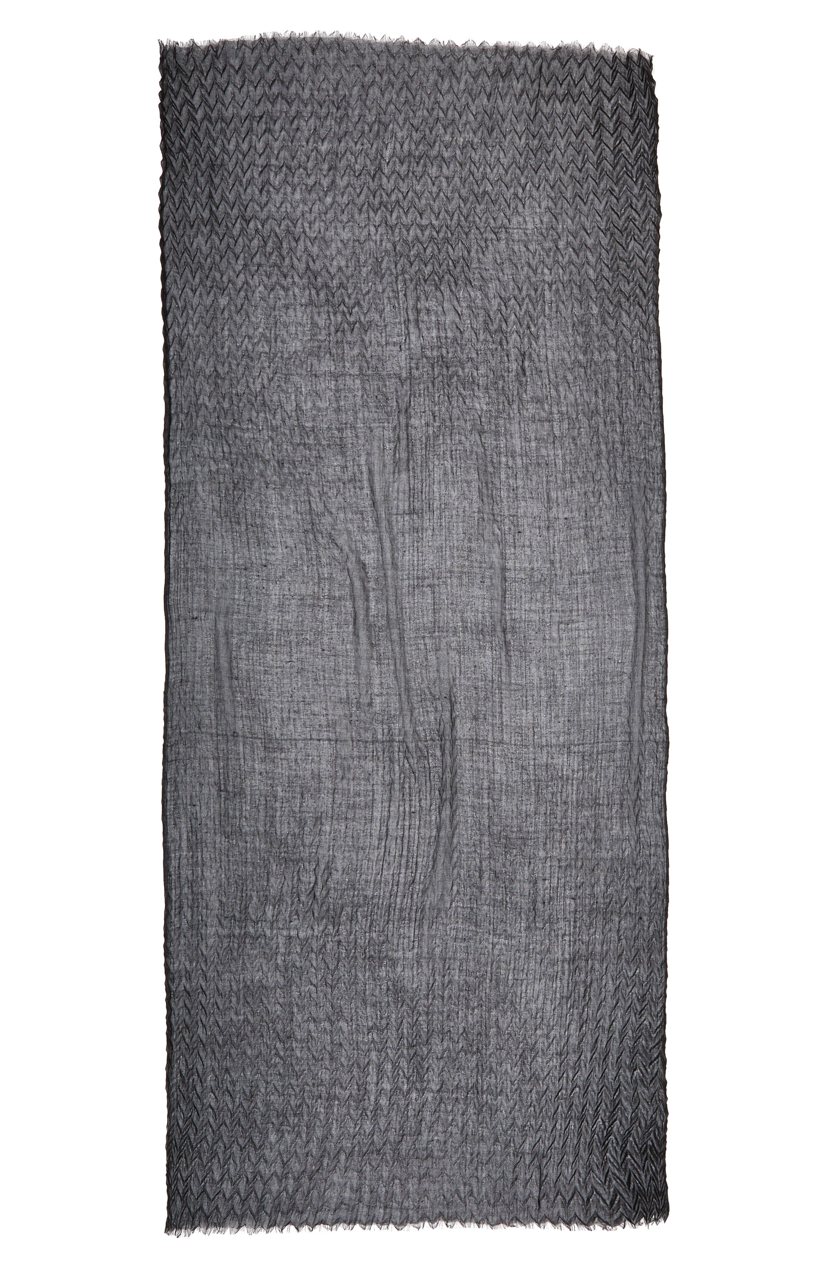Silk & Wool Wrap,                             Alternate thumbnail 2, color,                             Black