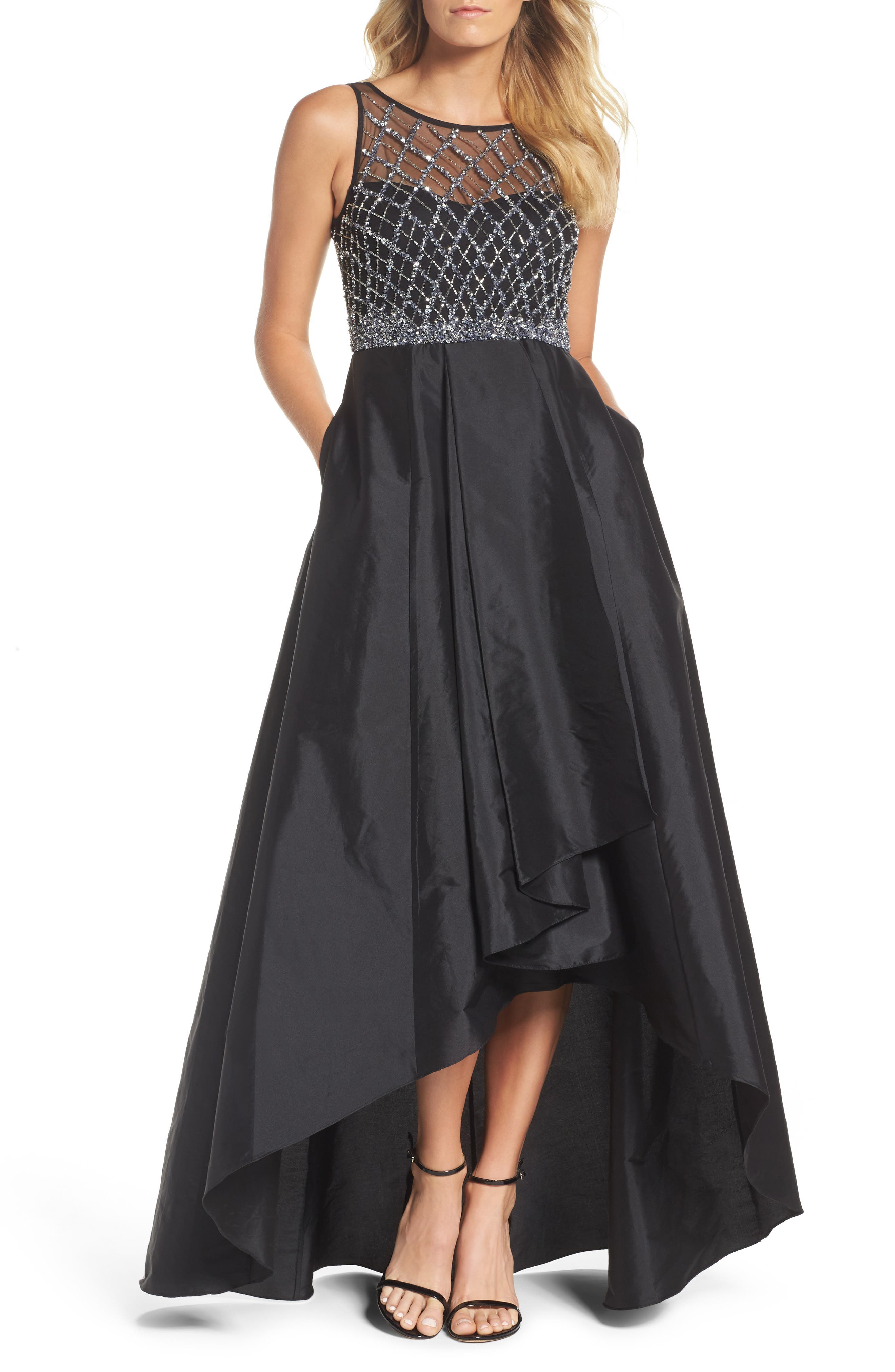 Embellished High/Low Ballgown,                         Main,                         color, Black