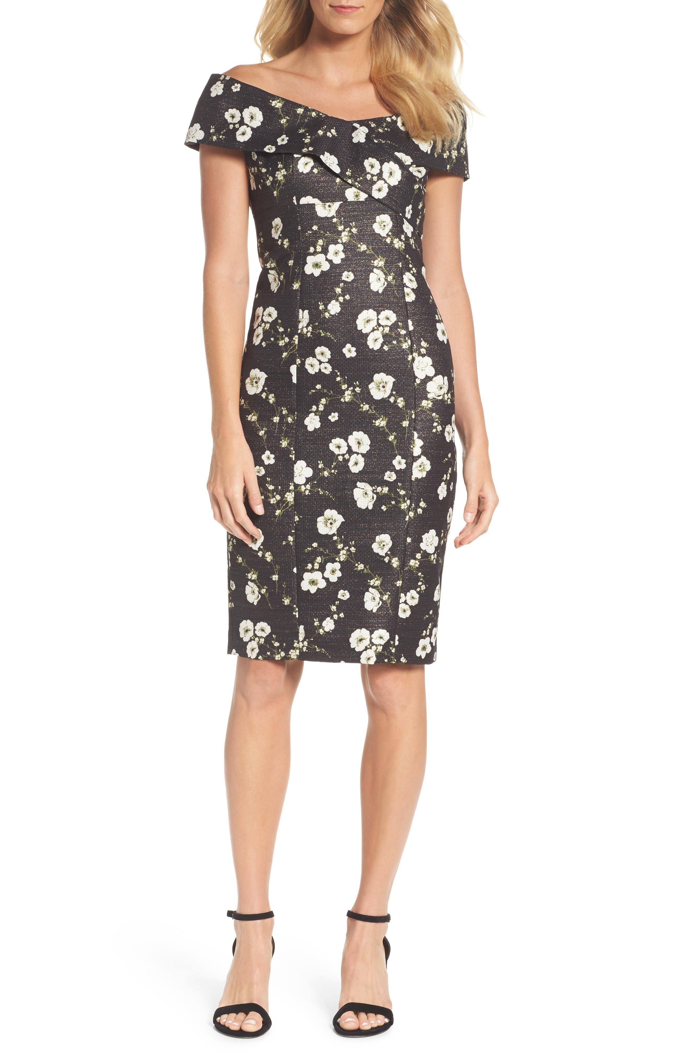 Metallic Off the Shoulder Sheath Dress,                         Main,                         color, Black Multi