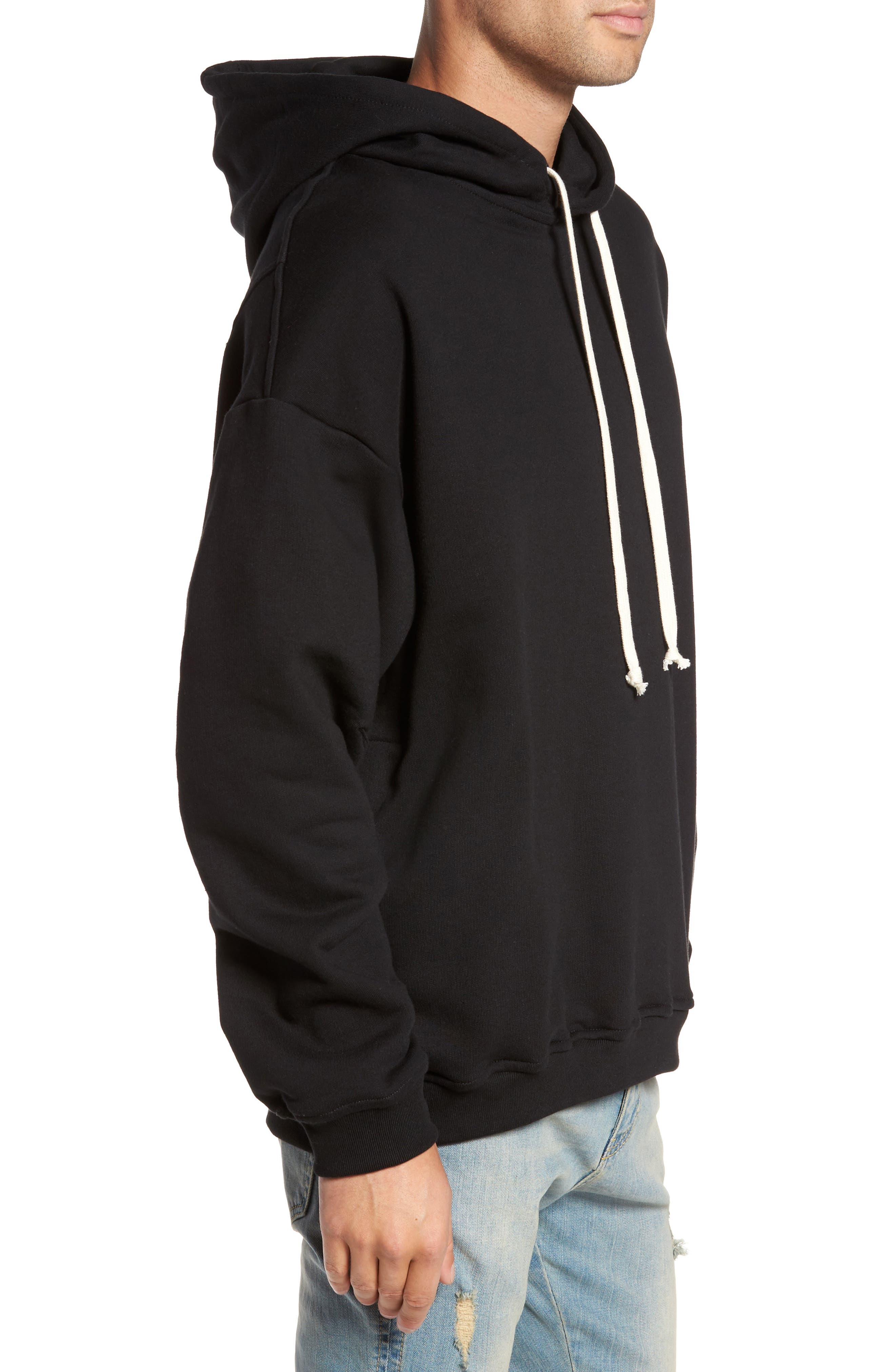 Relaxed Fit Hoodie,                             Alternate thumbnail 3, color,                             Black
