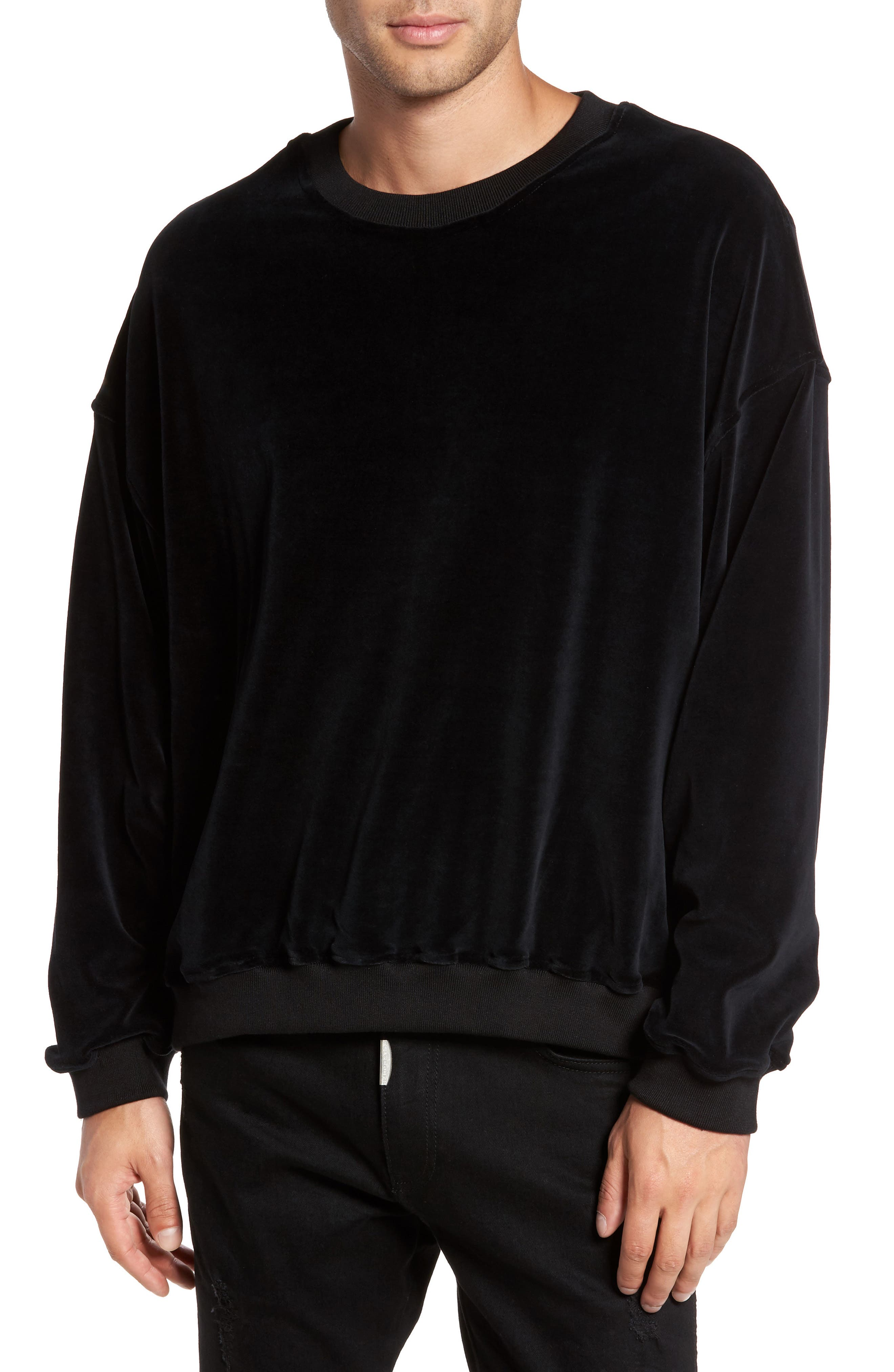 Relaxed Fit Velour Sweater,                         Main,                         color, Black