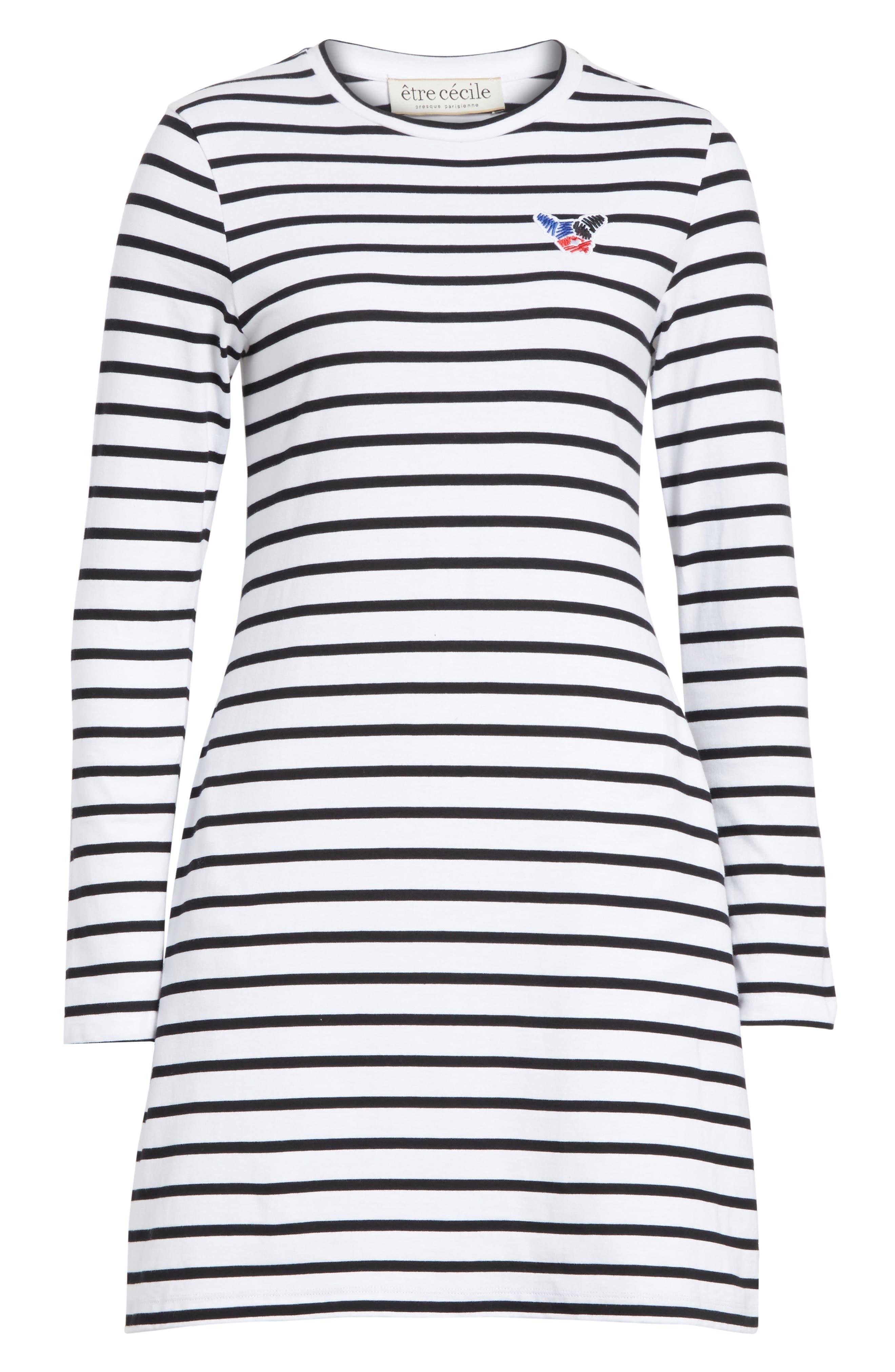 être cécile Scribble Dog Stripe T-Shirt Dress,                             Alternate thumbnail 7, color,                             Black Breton Stripe