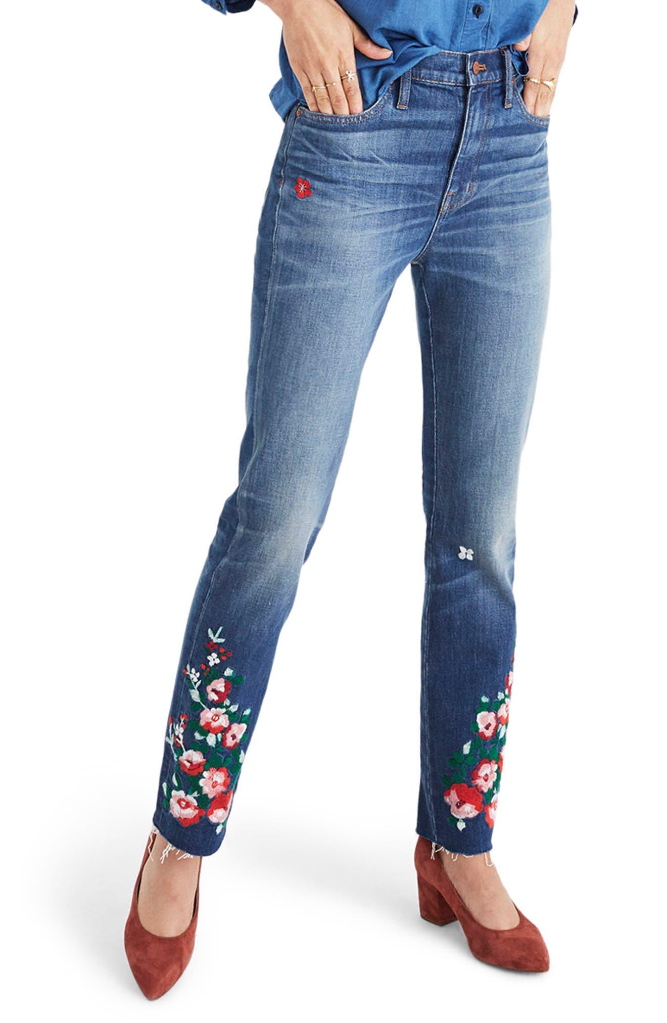 Madewell Embroidered High Waist Boyfriend Jeans (Carolin)