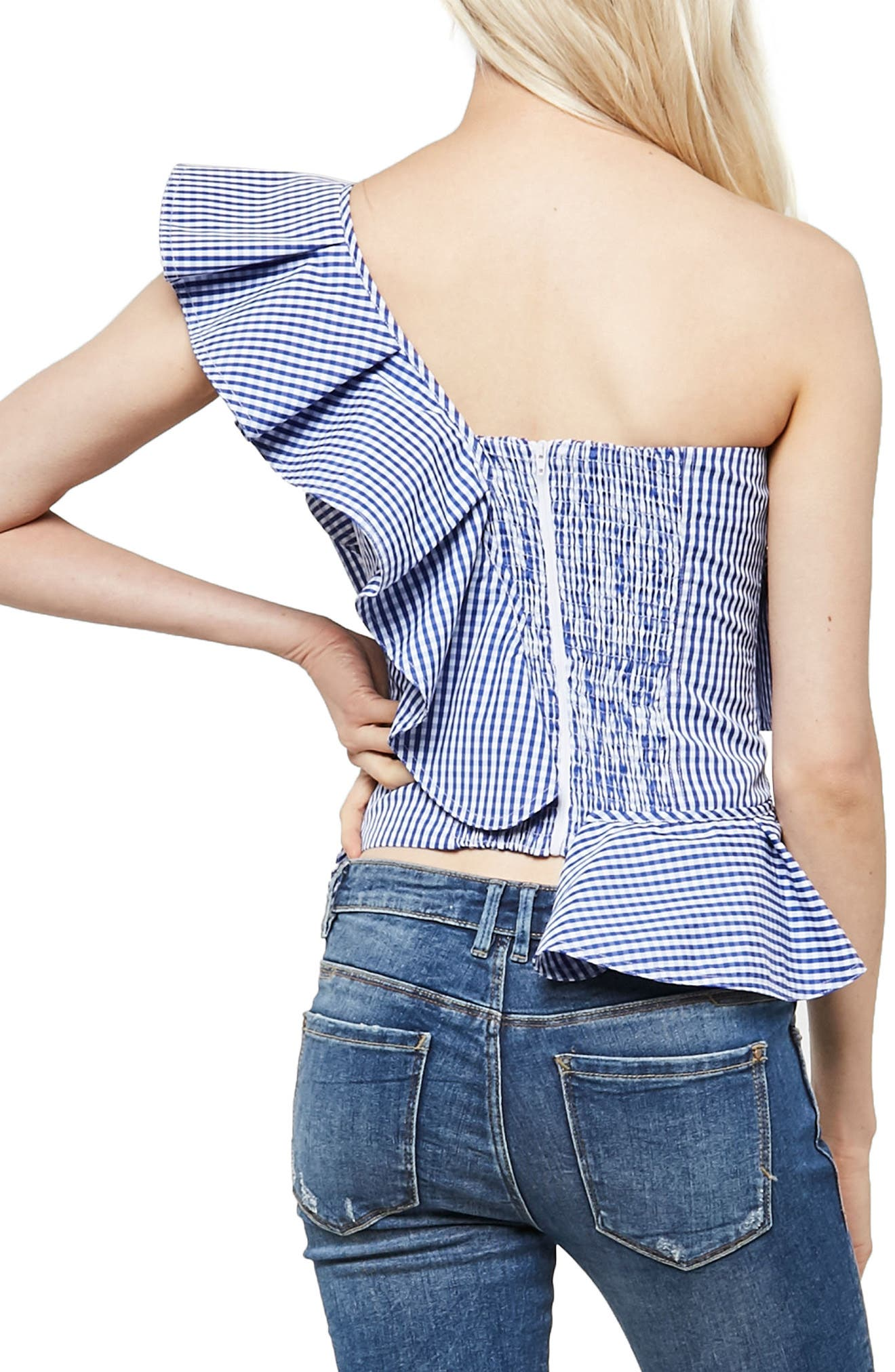 Alpha & Omega Gingham One-Shoulder Blouse,                             Alternate thumbnail 2, color,                             Royal