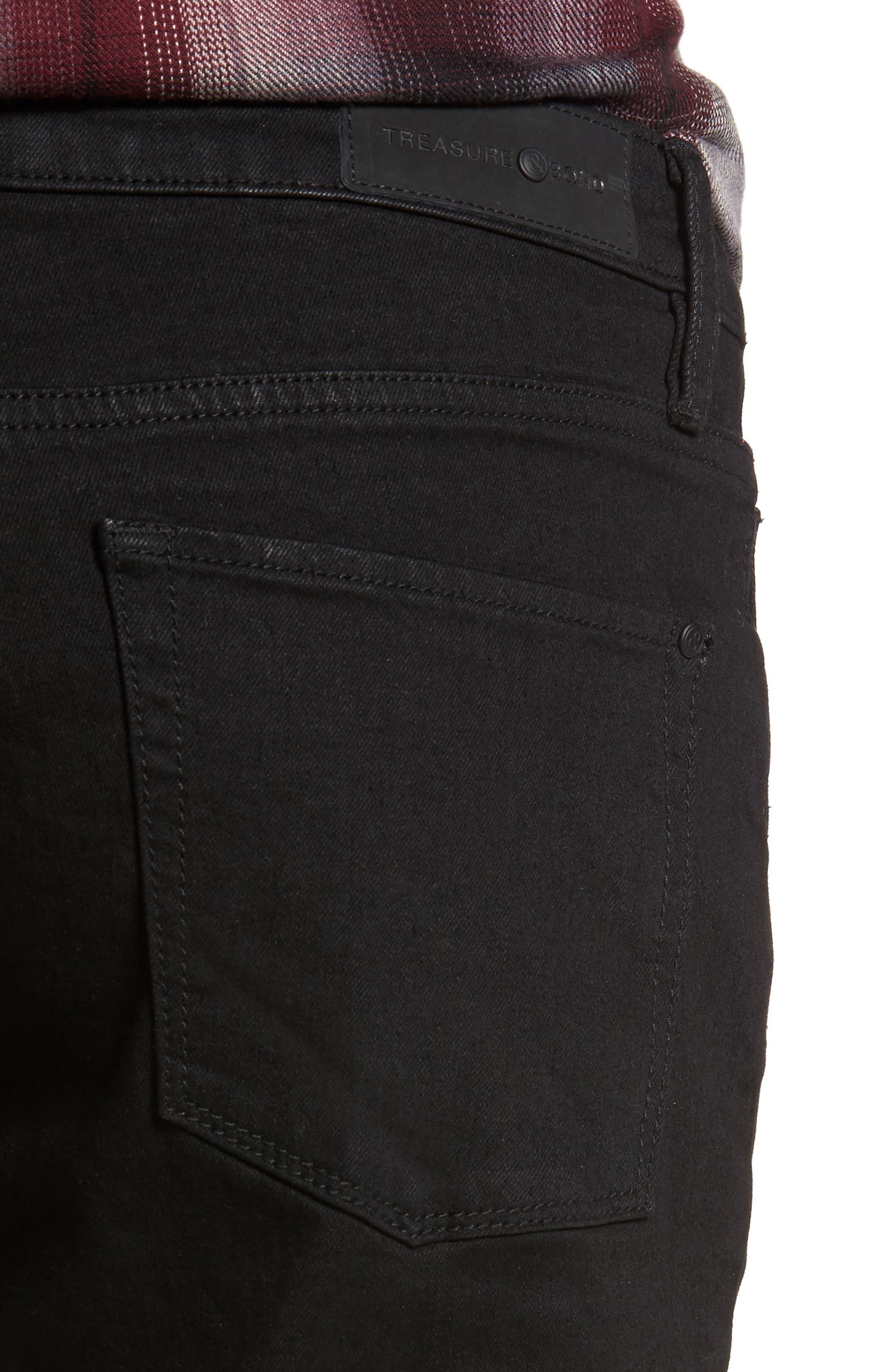 Slim Fit Destroyed Jeans,                             Alternate thumbnail 4, color,                             Black Rock