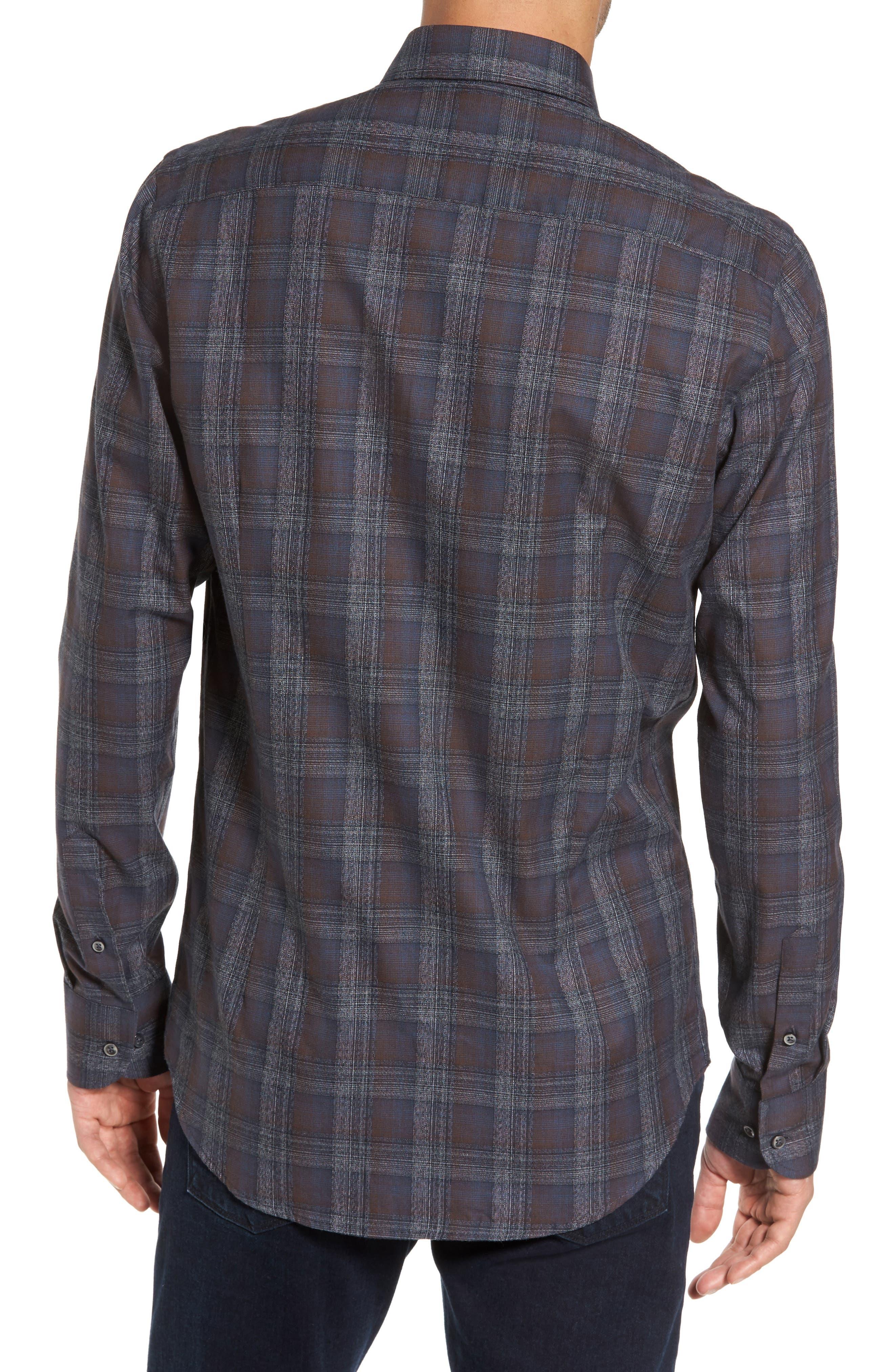 Trim Fit Plaid Sport Shirt,                             Alternate thumbnail 2, color,                             290 Brown Grey Plaid