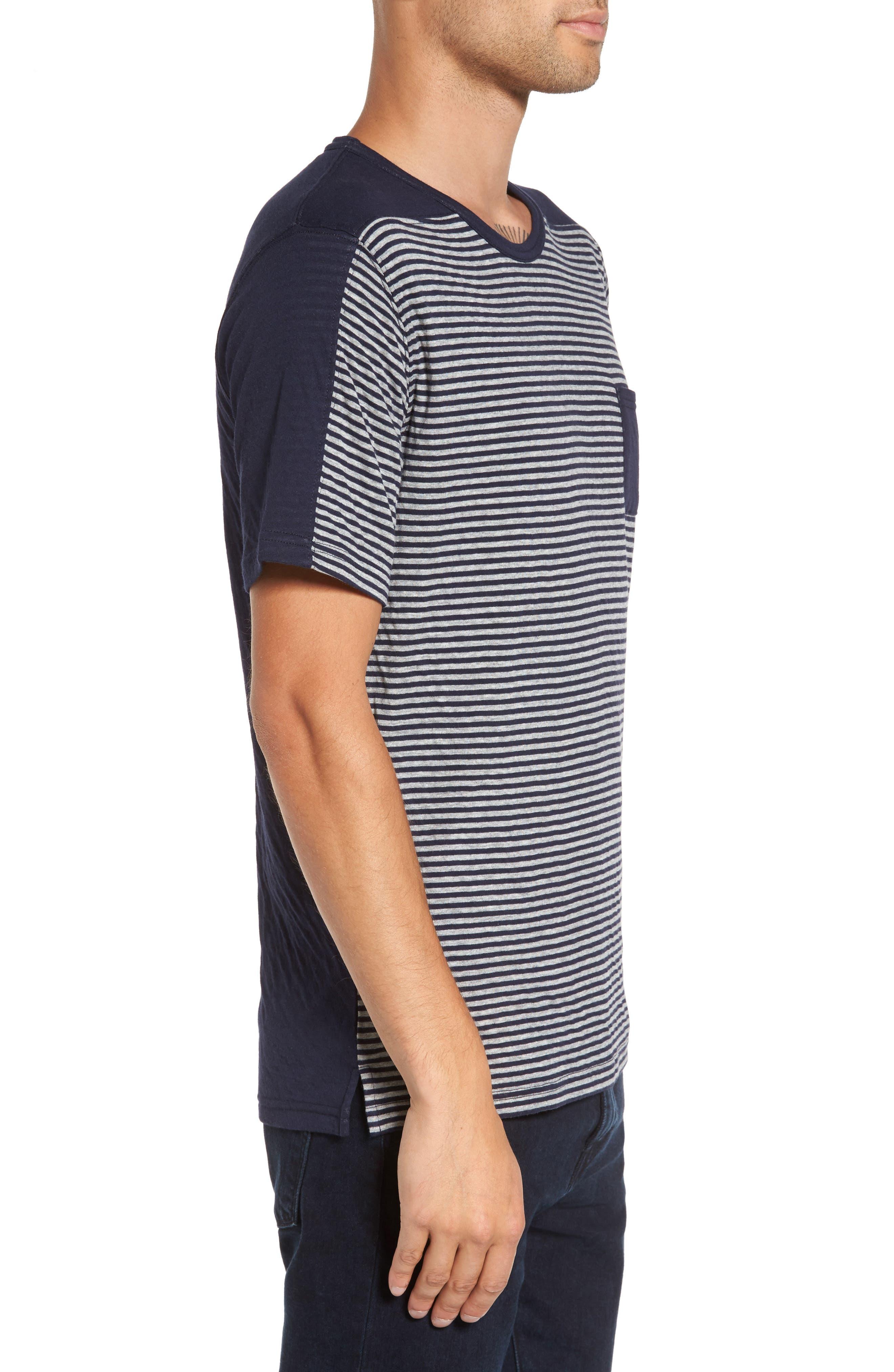 Striped Pocket T-Shirt,                             Alternate thumbnail 3, color,                             Navy/ White Stripe