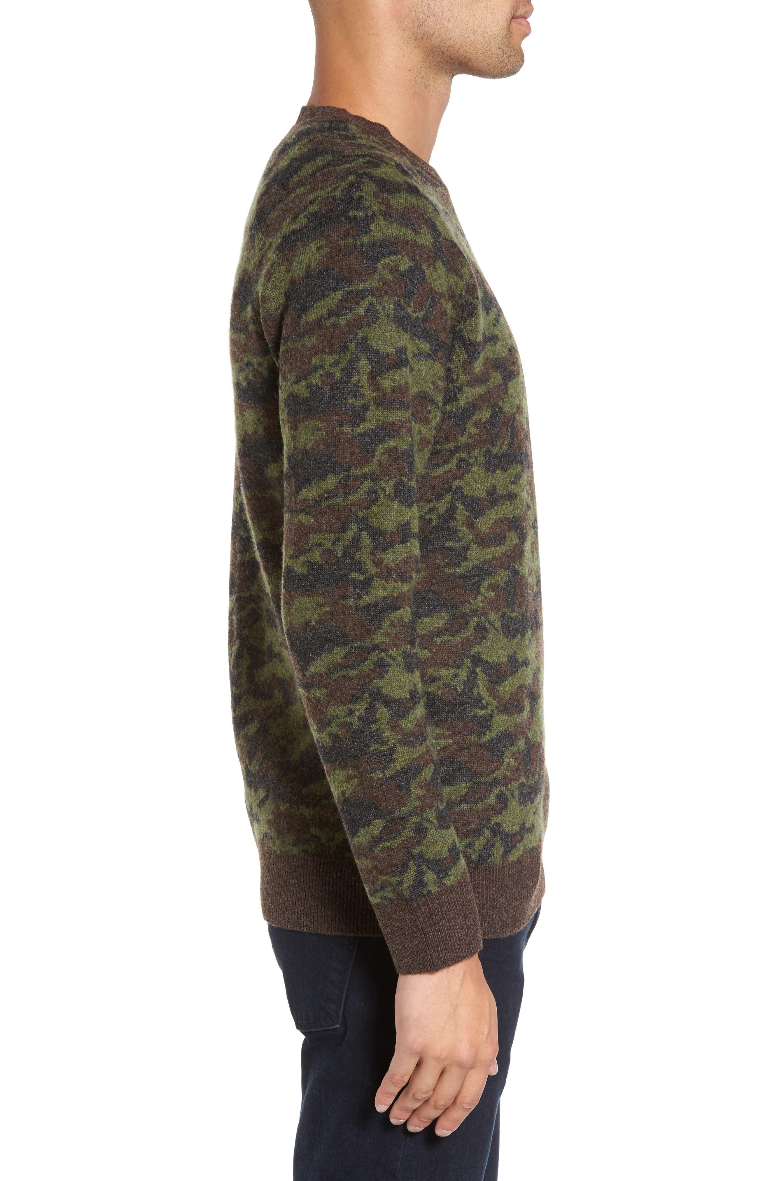 Wool Camo Sweater,                             Alternate thumbnail 3, color,                             Green Camo