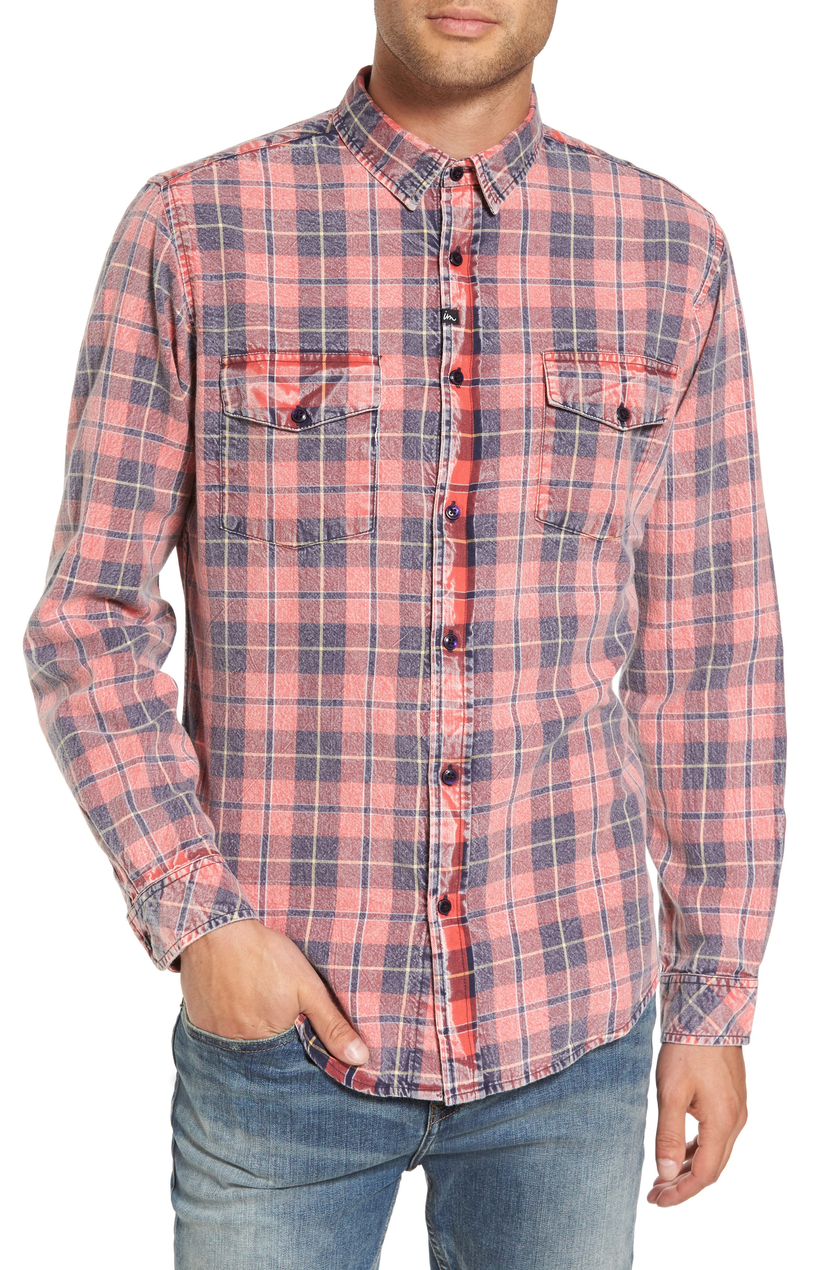 Greenwich Flannel Shirt,                         Main,                         color, Faded Red