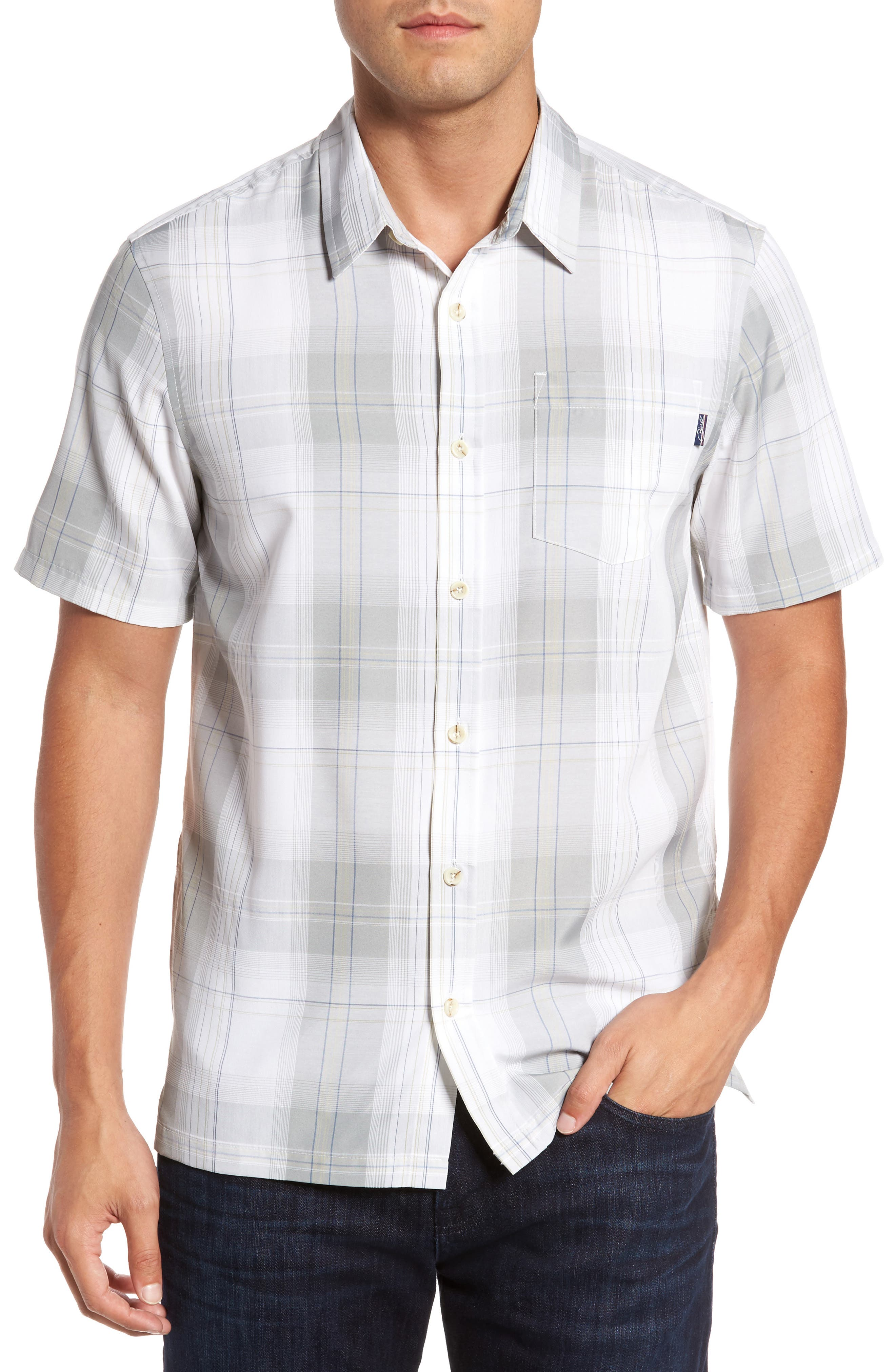 Outerbanks Plaid Sport Shirt,                             Main thumbnail 1, color,                             Light Grey