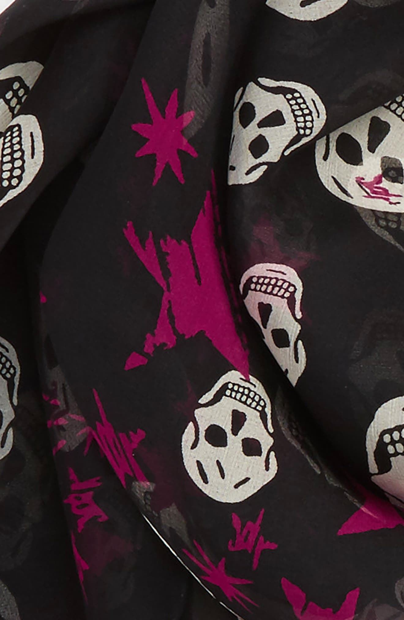 Starlight Skull Silk Chiffon Scarf,                             Alternate thumbnail 3, color,                             Black/ Ivory
