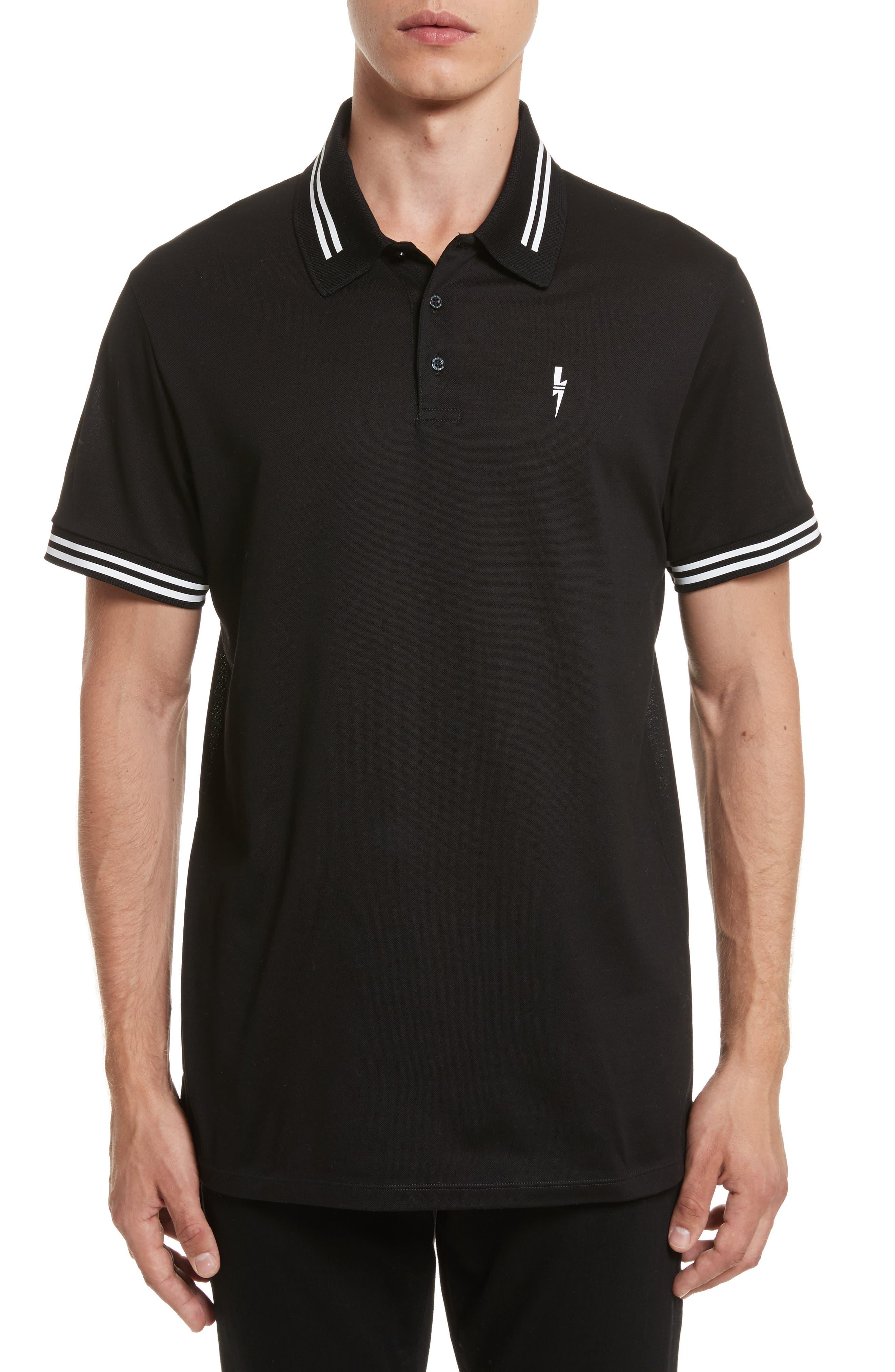 Stripe Tipped Polo,                             Main thumbnail 1, color,                             Black/ White