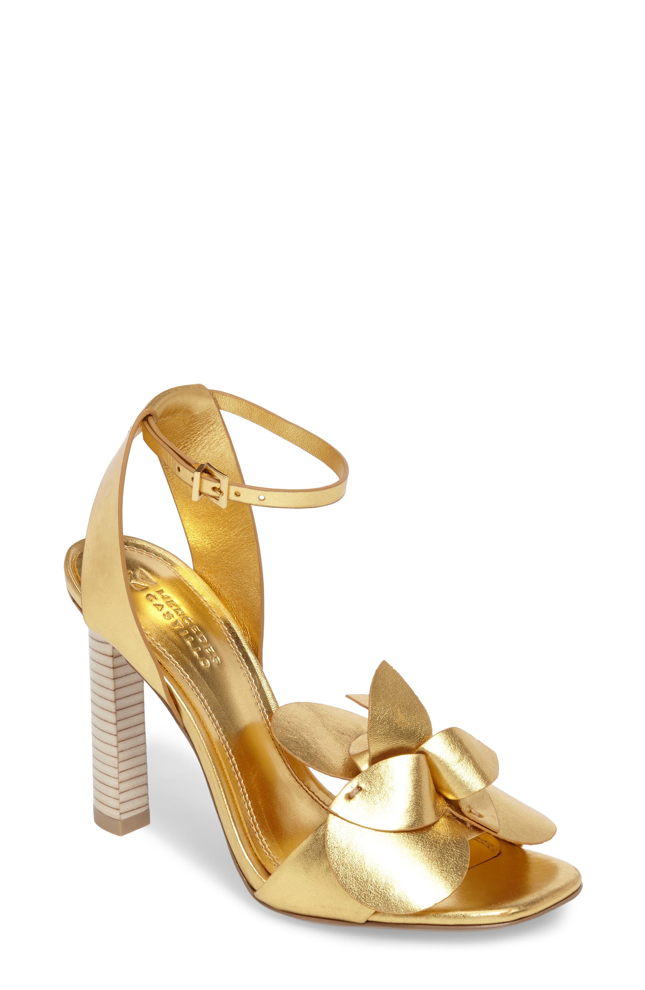 Tealia Sandal,                         Main,                         color, Gold Leather
