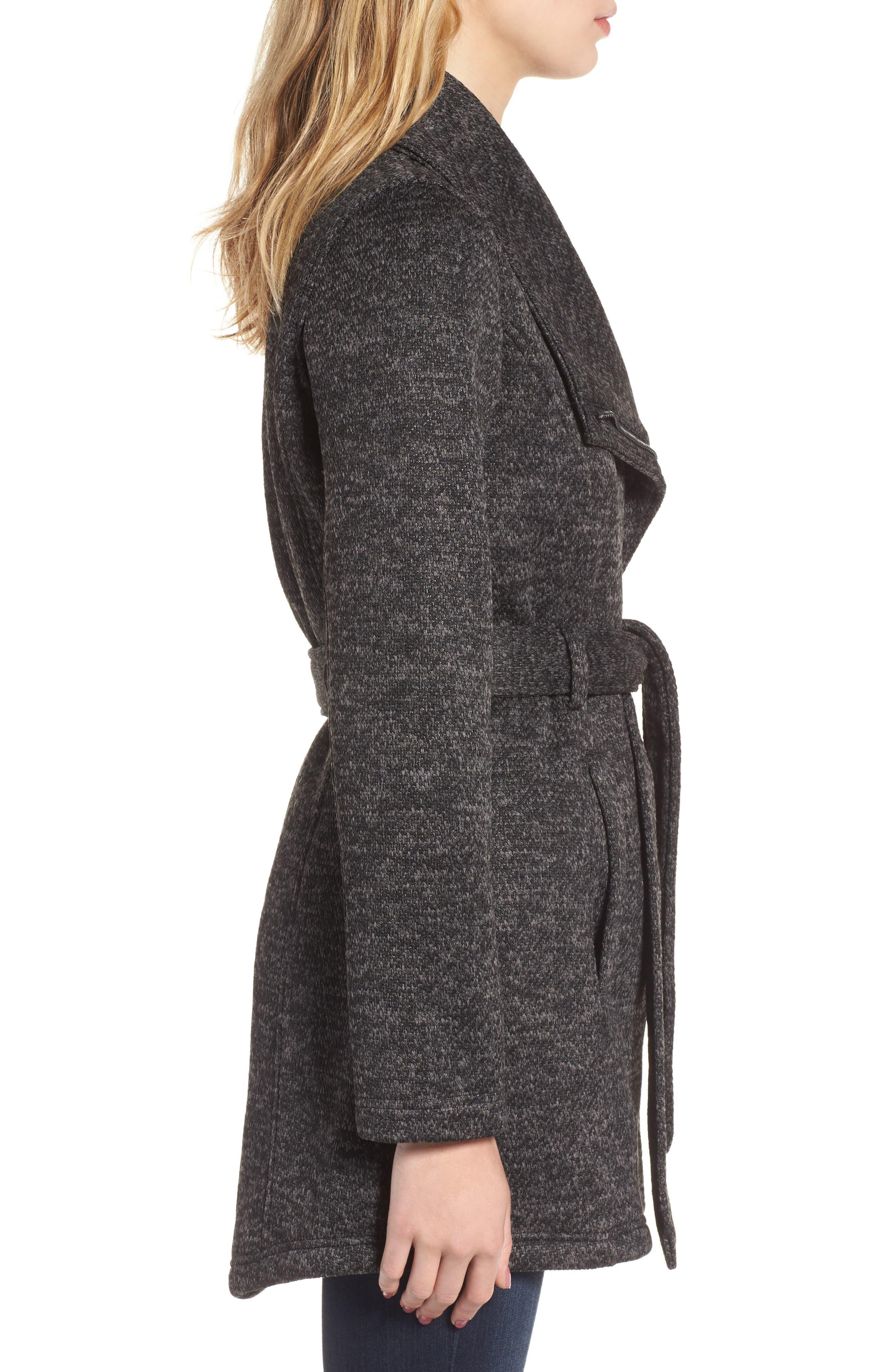 Fleece Wrap Coat,                             Alternate thumbnail 4, color,                             Charcoal Heather