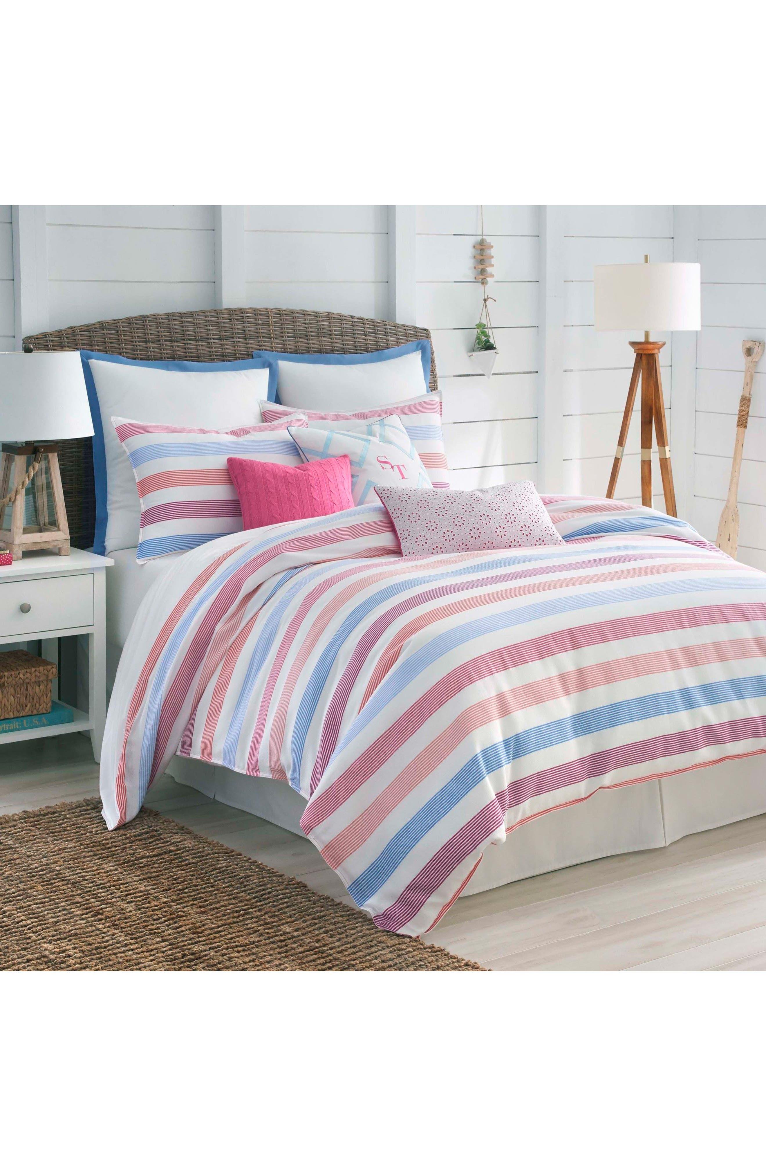 Long Bay Stripe Comforter, Sham & Bed Skirt Set,                         Main,                         color, Pink