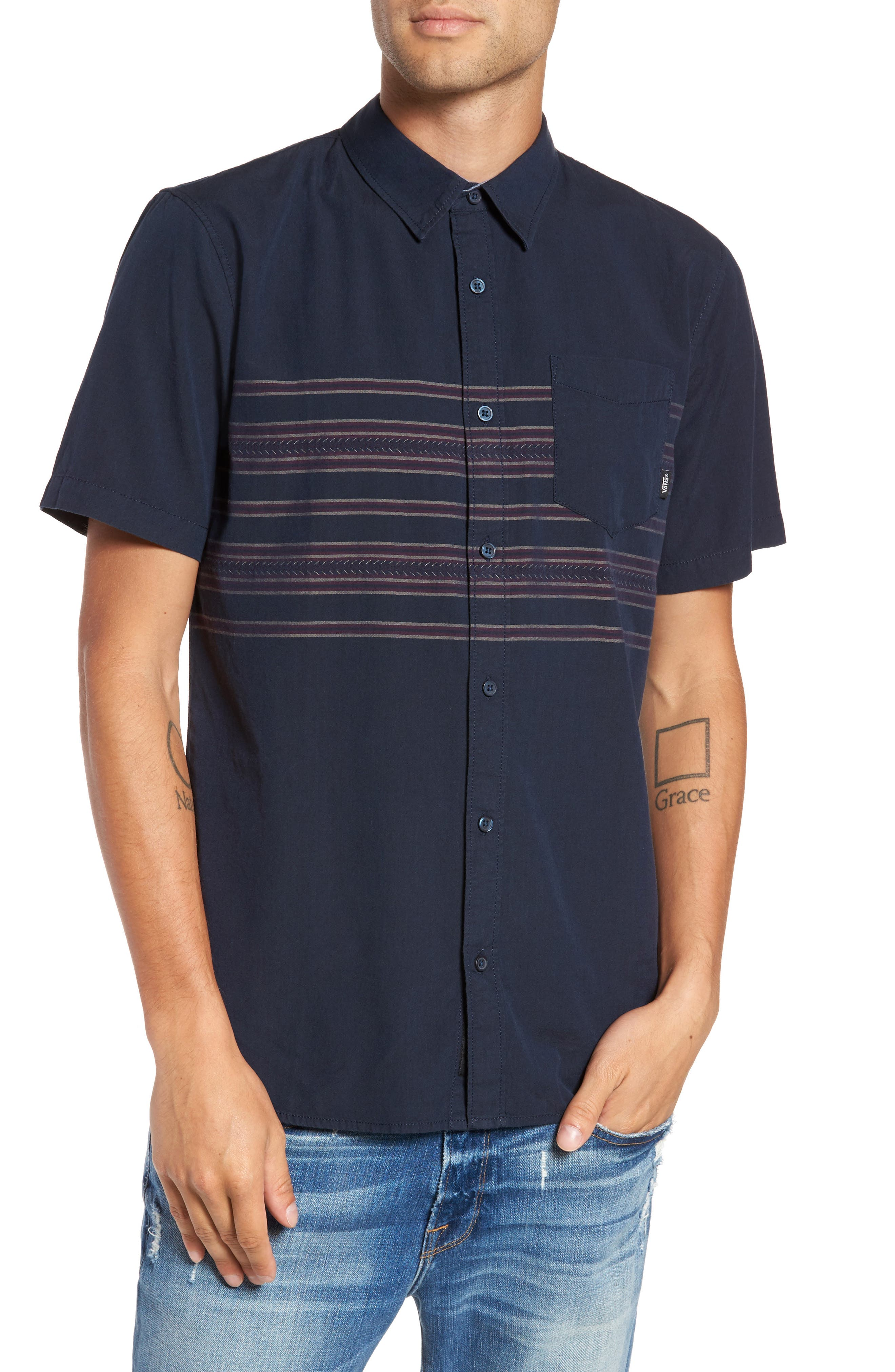 Alternate Image 1 Selected - Vans Benmore Striped Woven Shirt