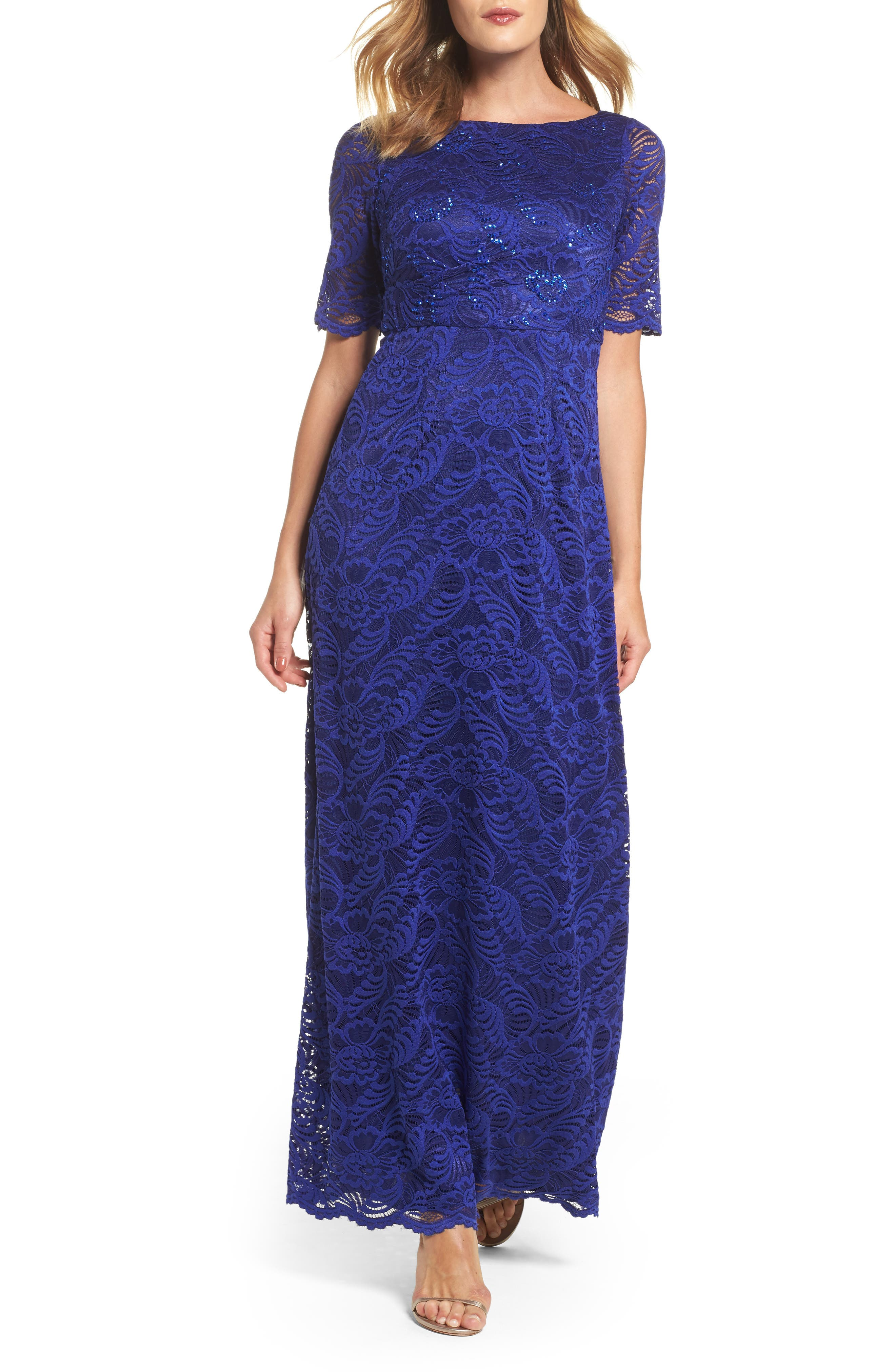 Shirred Stretch Lace Gown,                             Main thumbnail 1, color,                             Neptune